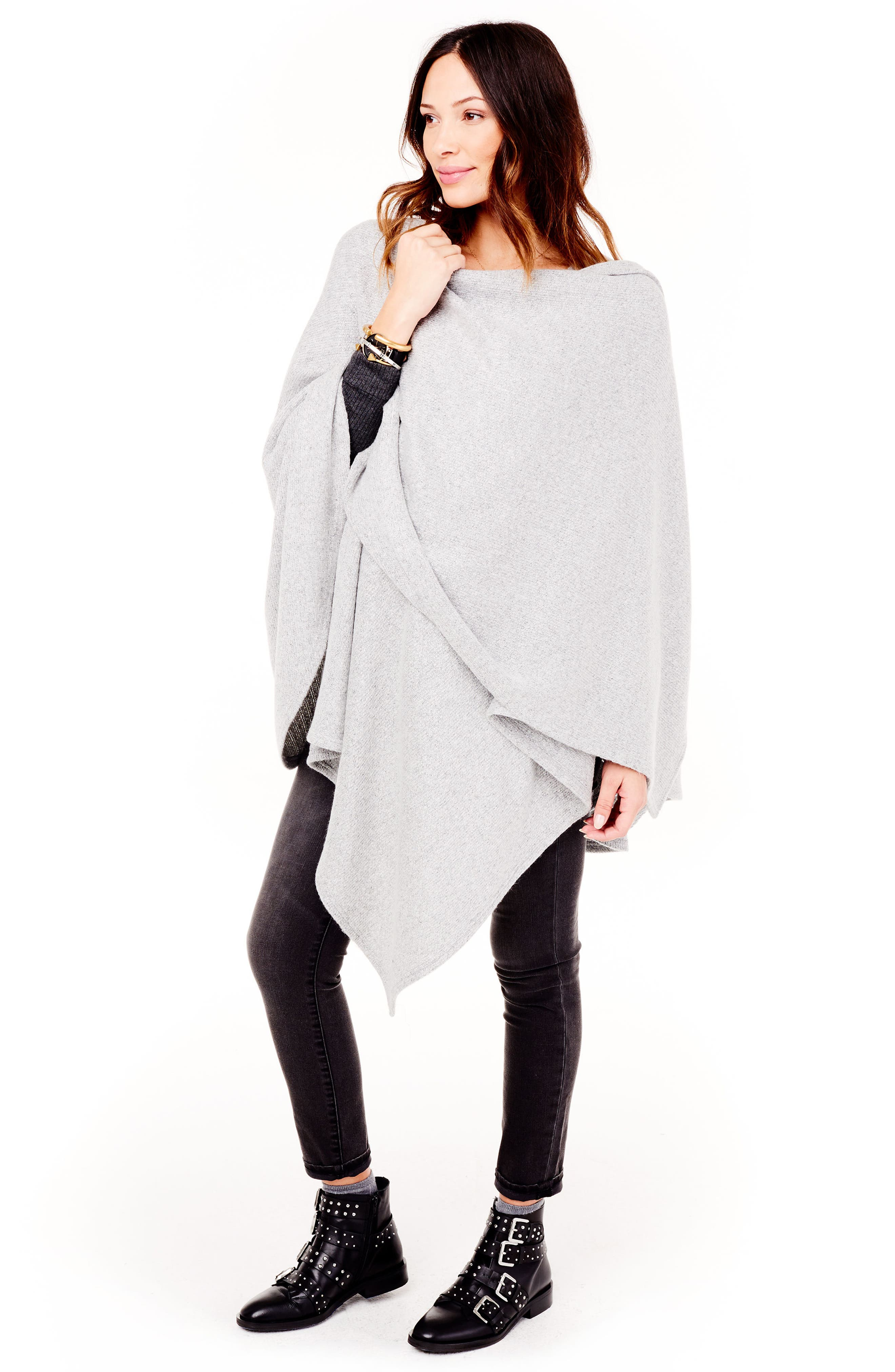Cozy Maternity/Nursing Wrap,                             Alternate thumbnail 5, color,                             Heather Grey