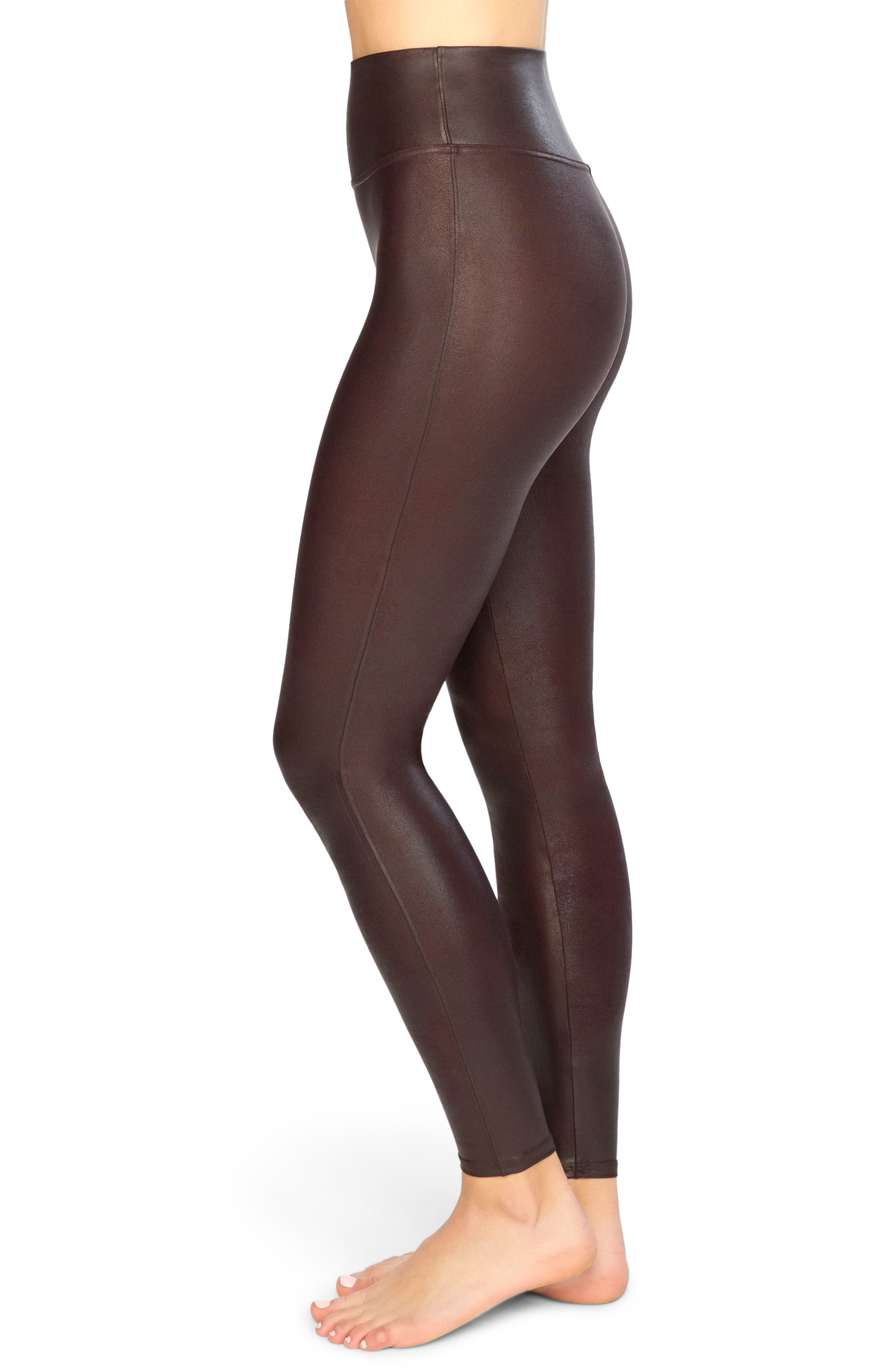 Faux Leather Leggings,                             Alternate thumbnail 3, color,                             Wine