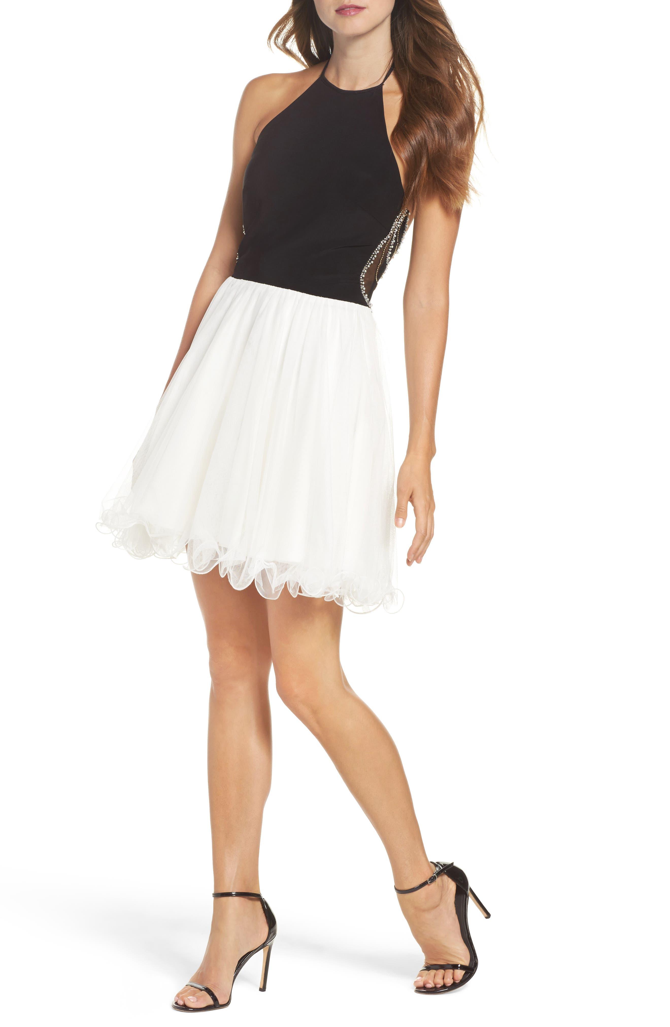Embellished Back Halter Skater Dress,                         Main,                         color, Black/ Ivory