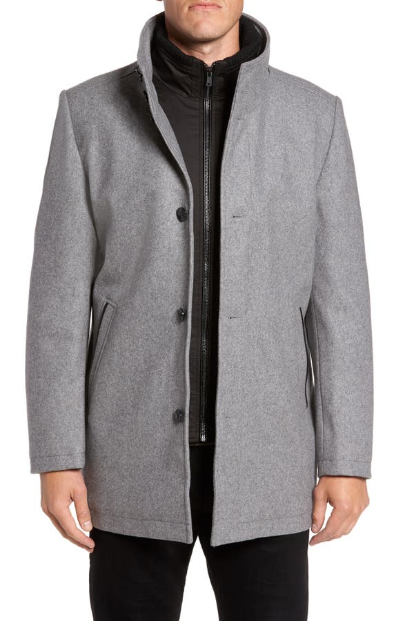 Vince Camuto Classic Wool Blend Car Coat with Inset Bib | Nordstrom