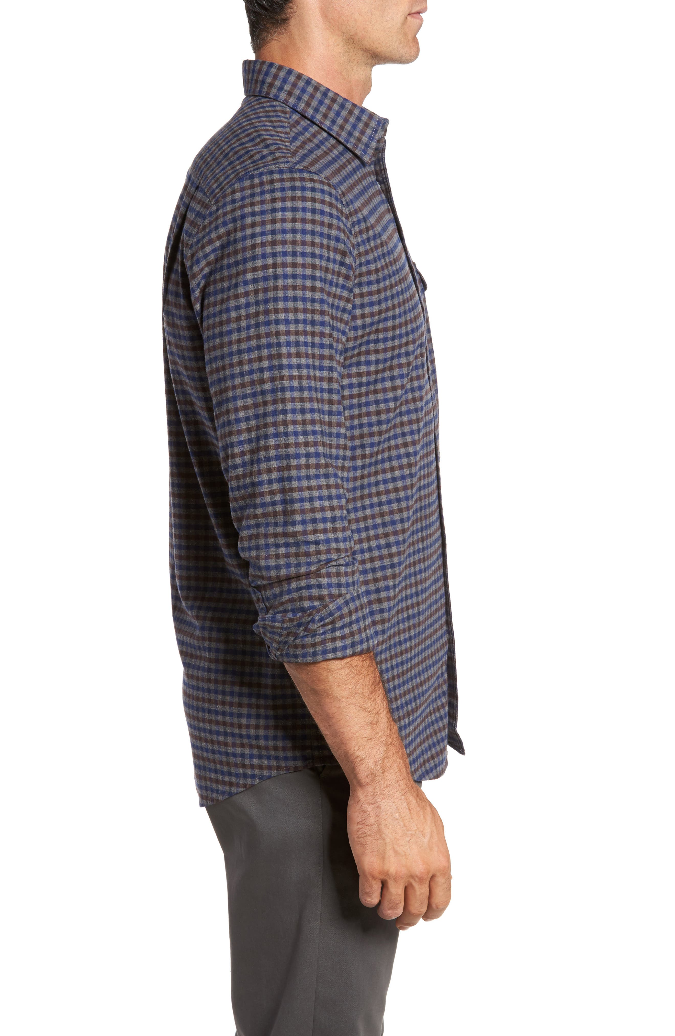 Regular Fit Lumber Check Flannel Shirt,                             Alternate thumbnail 3, color,                             Grey Shade Brown Check