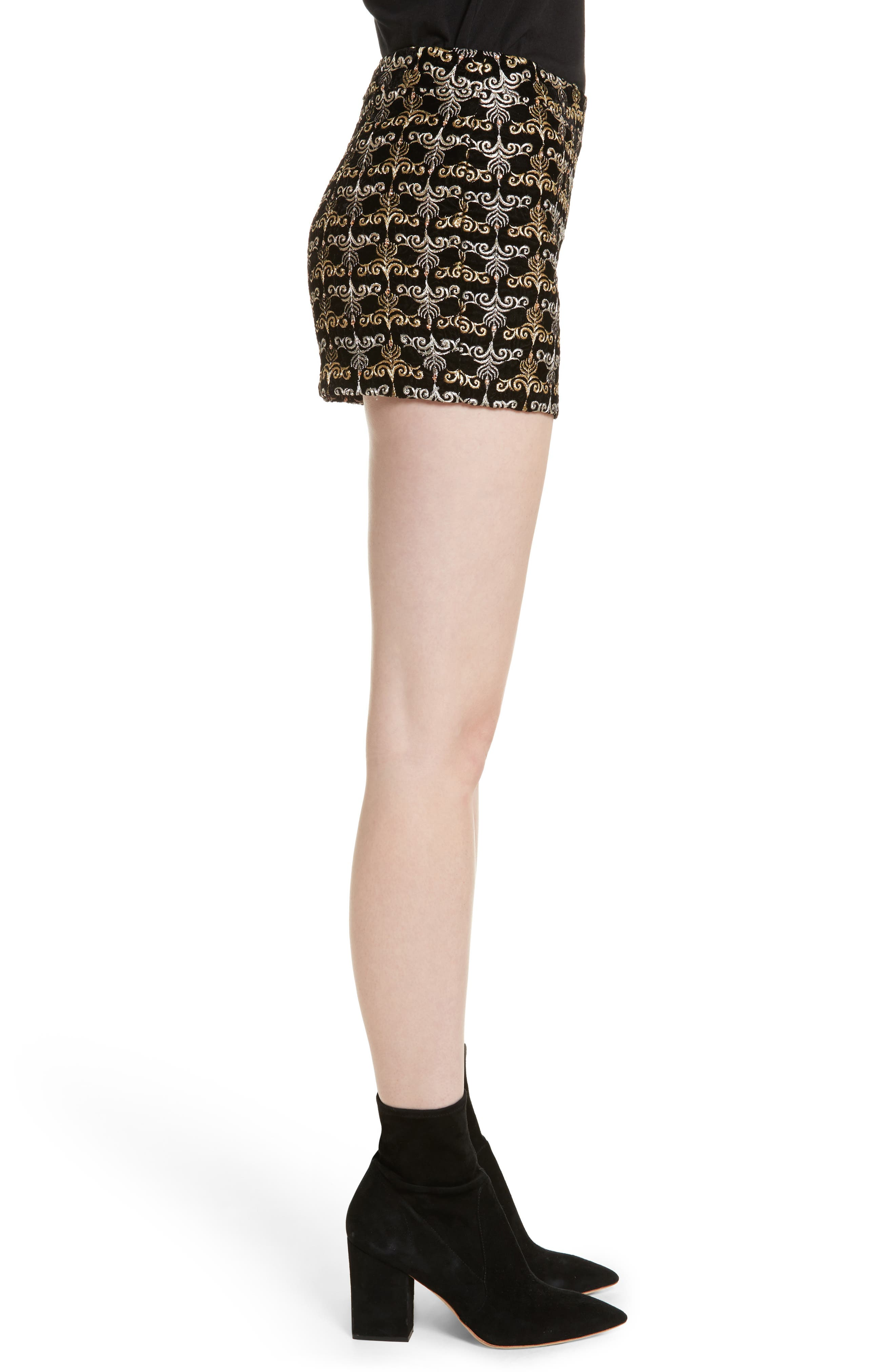 Alternate Image 3  - Alice + Olivia Marisa Embroidered Back Zip Shorts