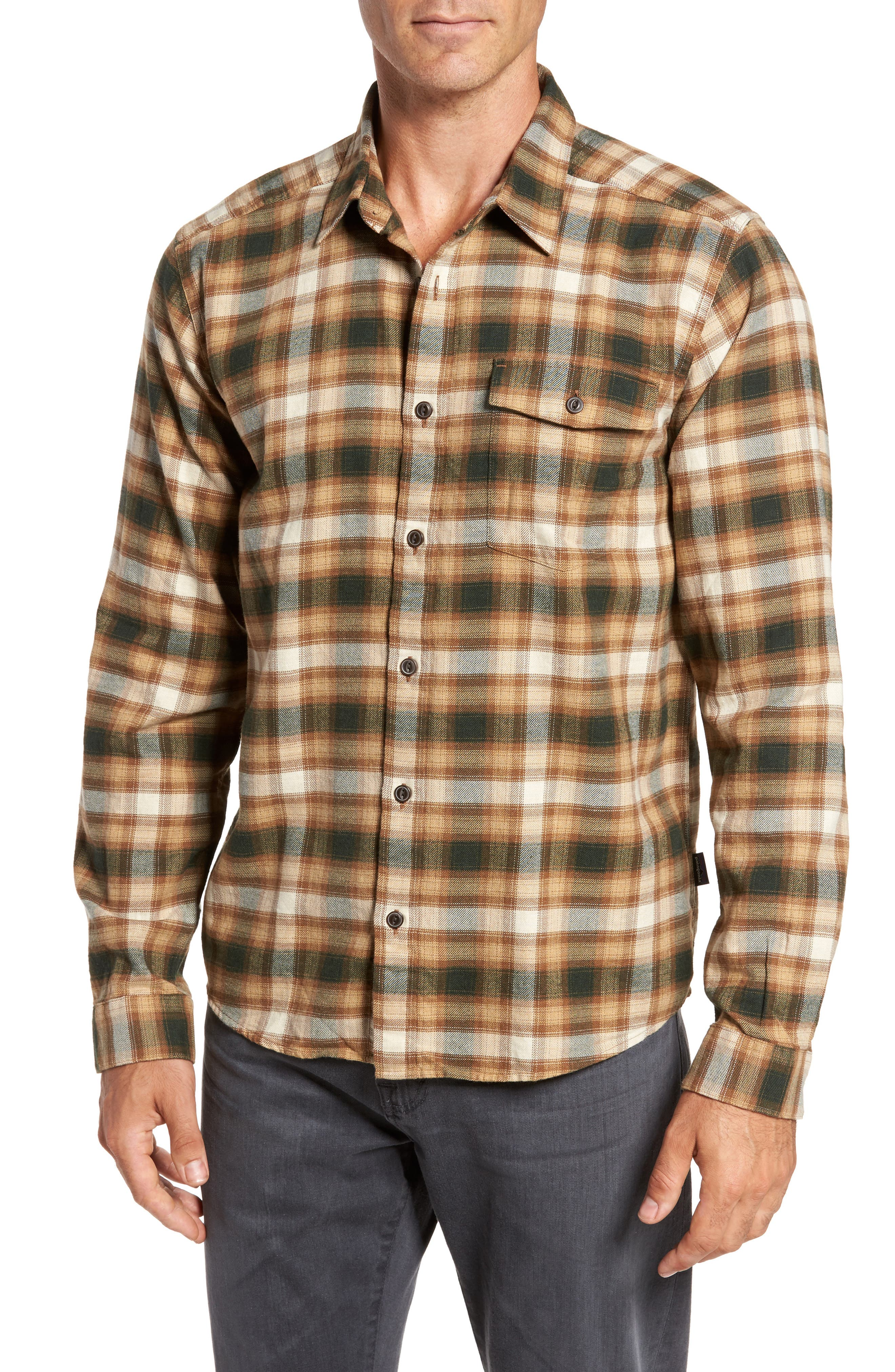 Regular Fit Organic Cotton Flannel Shirt,                         Main,                         color, Revival Bear Brown