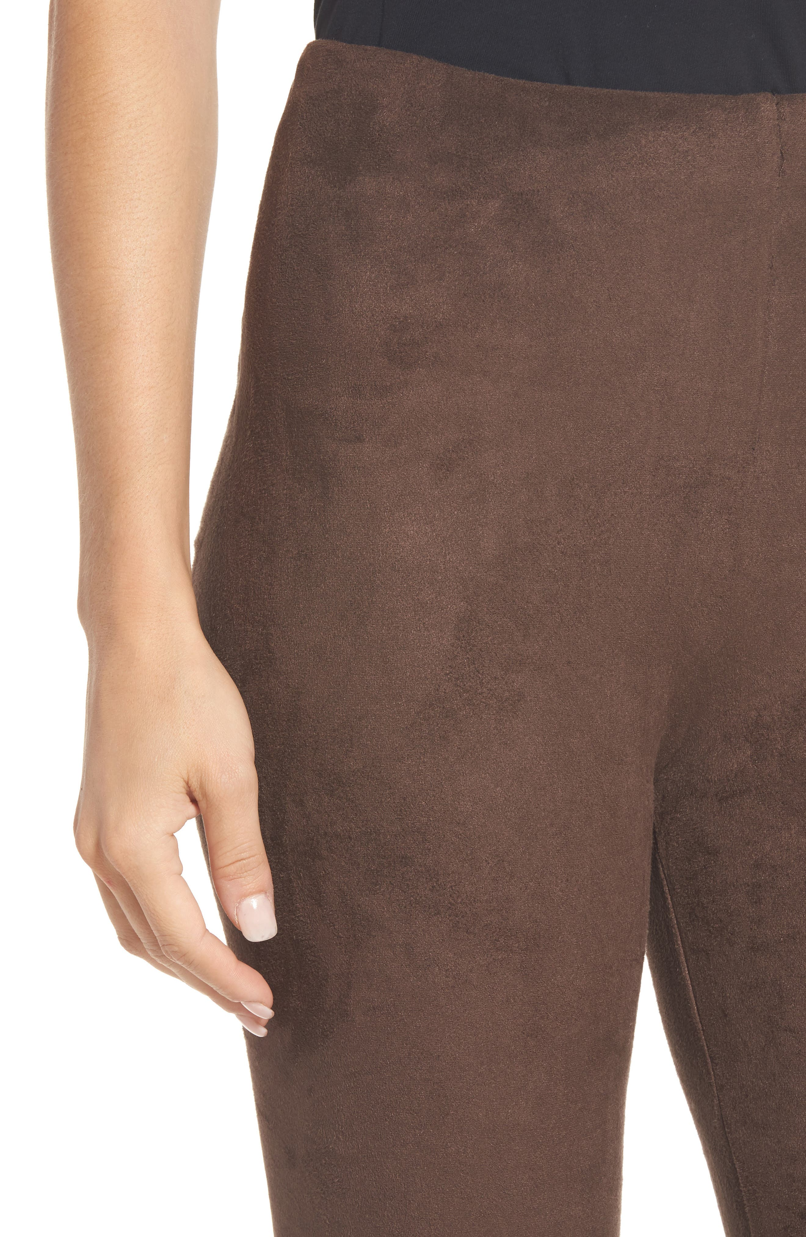 High Waist Faux Suede Leggings,                             Alternate thumbnail 4, color,                             Bourbon
