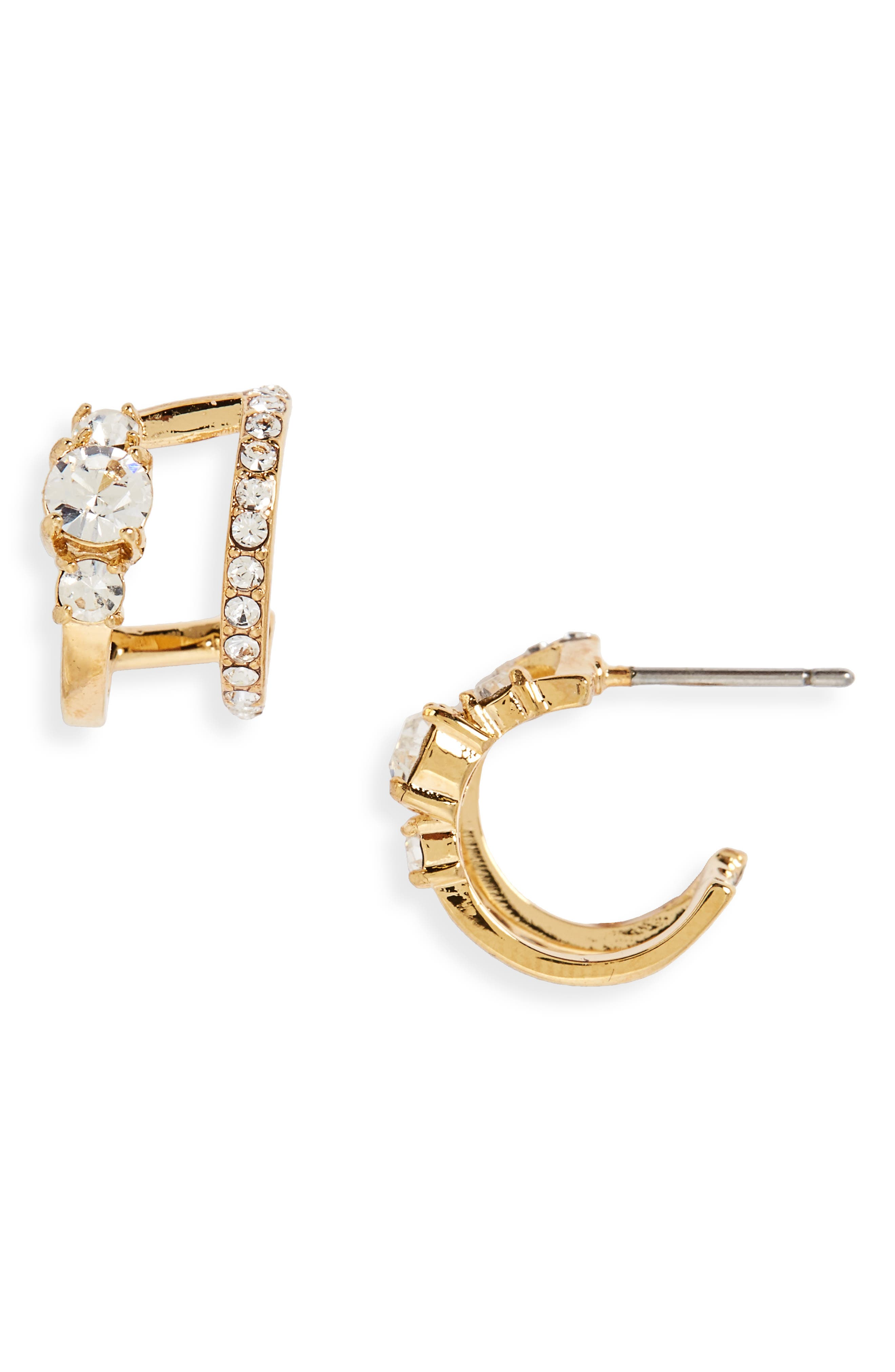 small stack hoop earrings,                         Main,                         color, Clear/ Gold