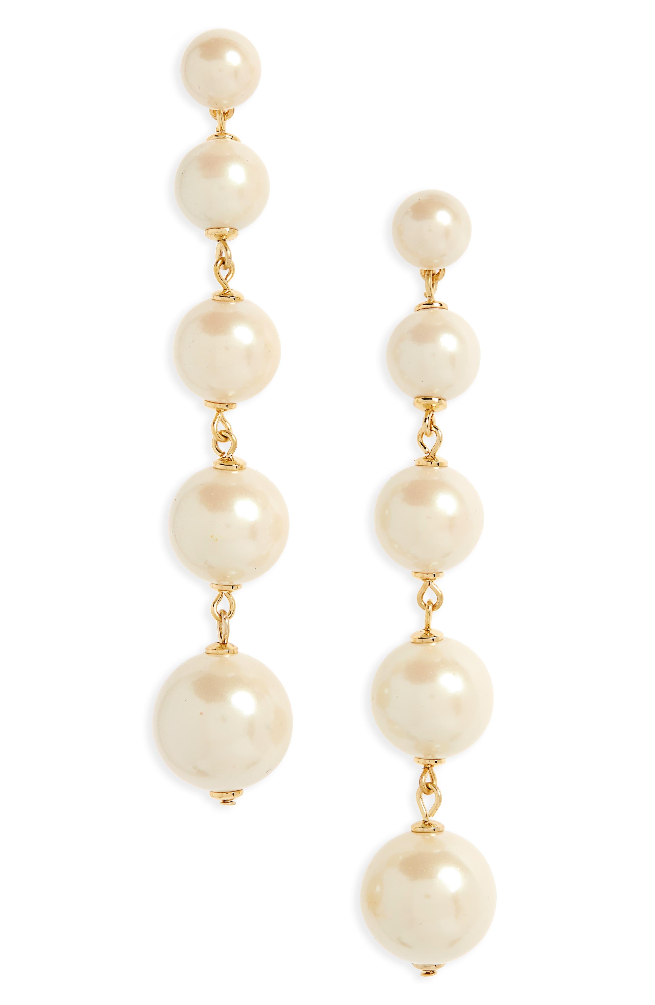 kate spade new york girls in pearls linear earrings