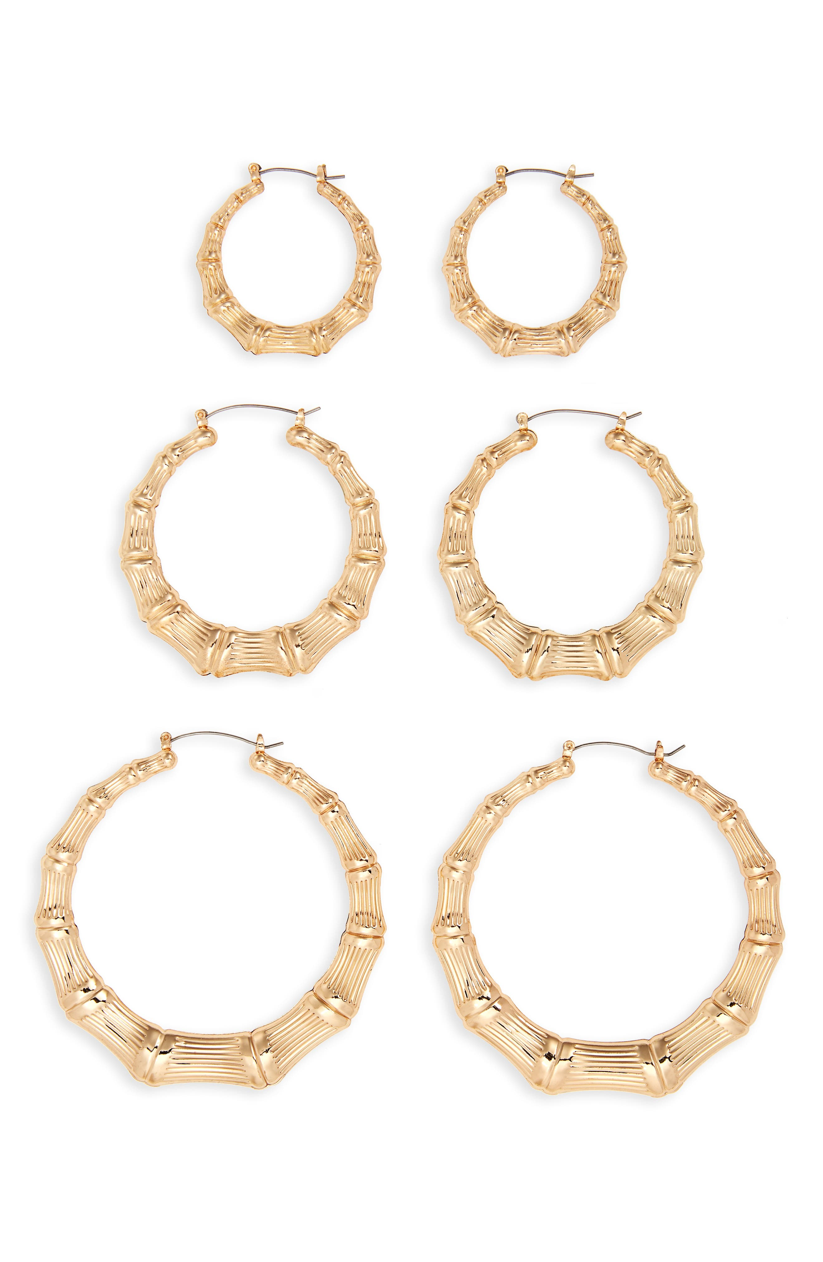 3-Pack Bamboo Hoop Earrings,                         Main,                         color, Gold