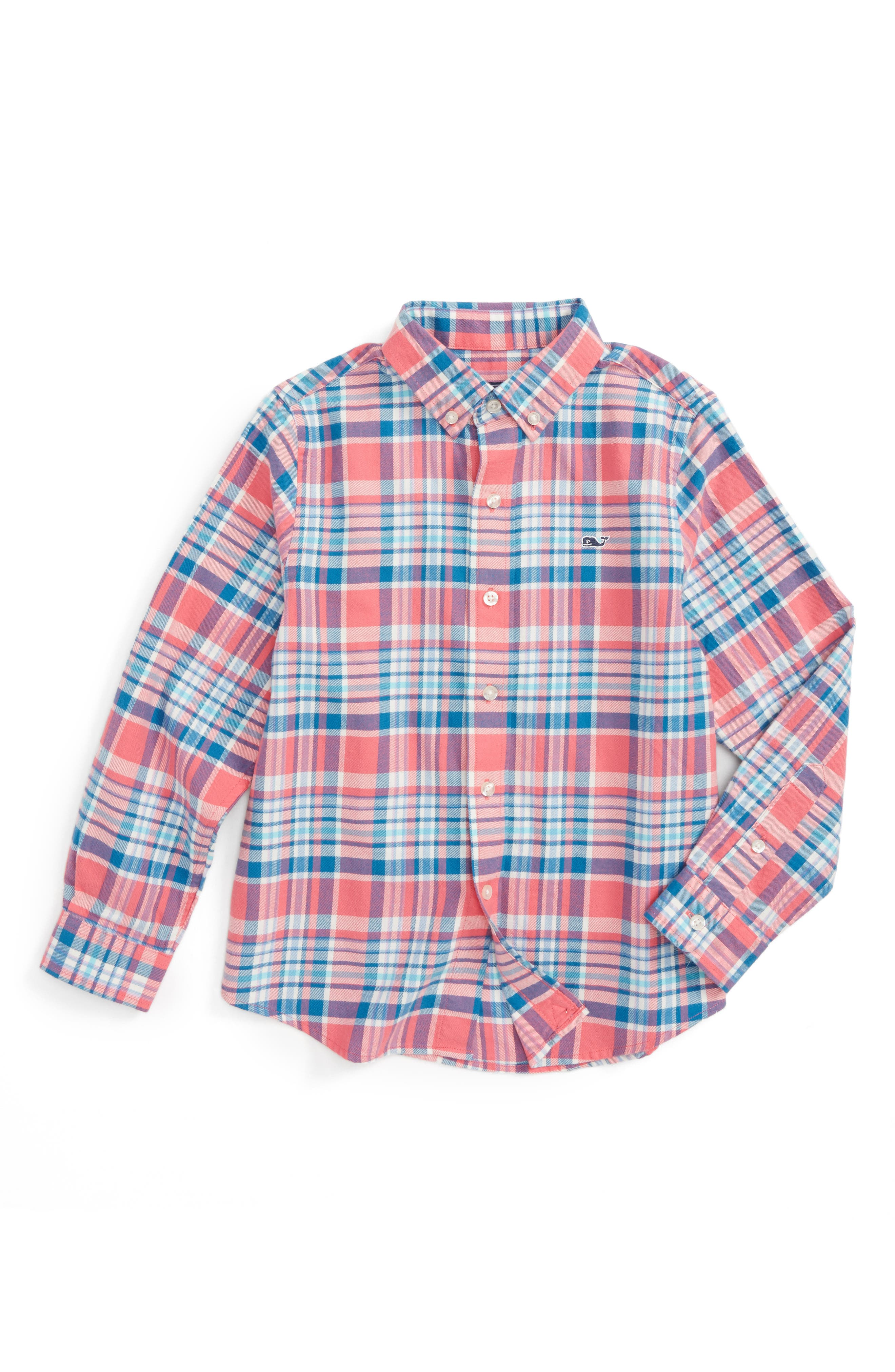 Middleton Plaid Flannel Shirt,                             Main thumbnail 1, color,                             Rose Pink