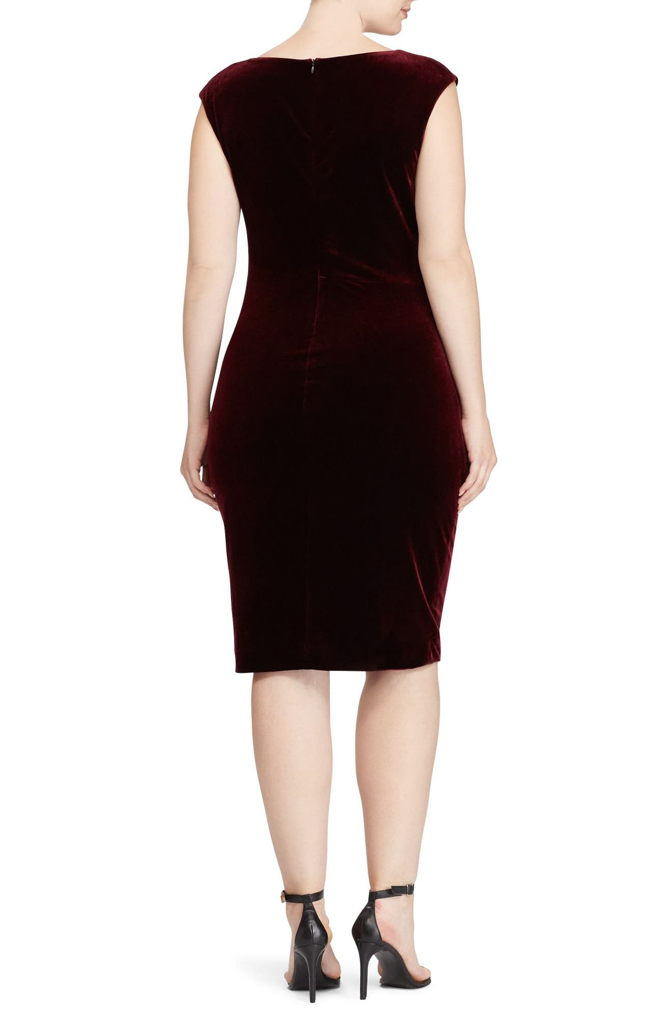 Alternate Image 2  - Lauren Ralph Lauren Stretch Velvet Sheath Dress (Plus Size)