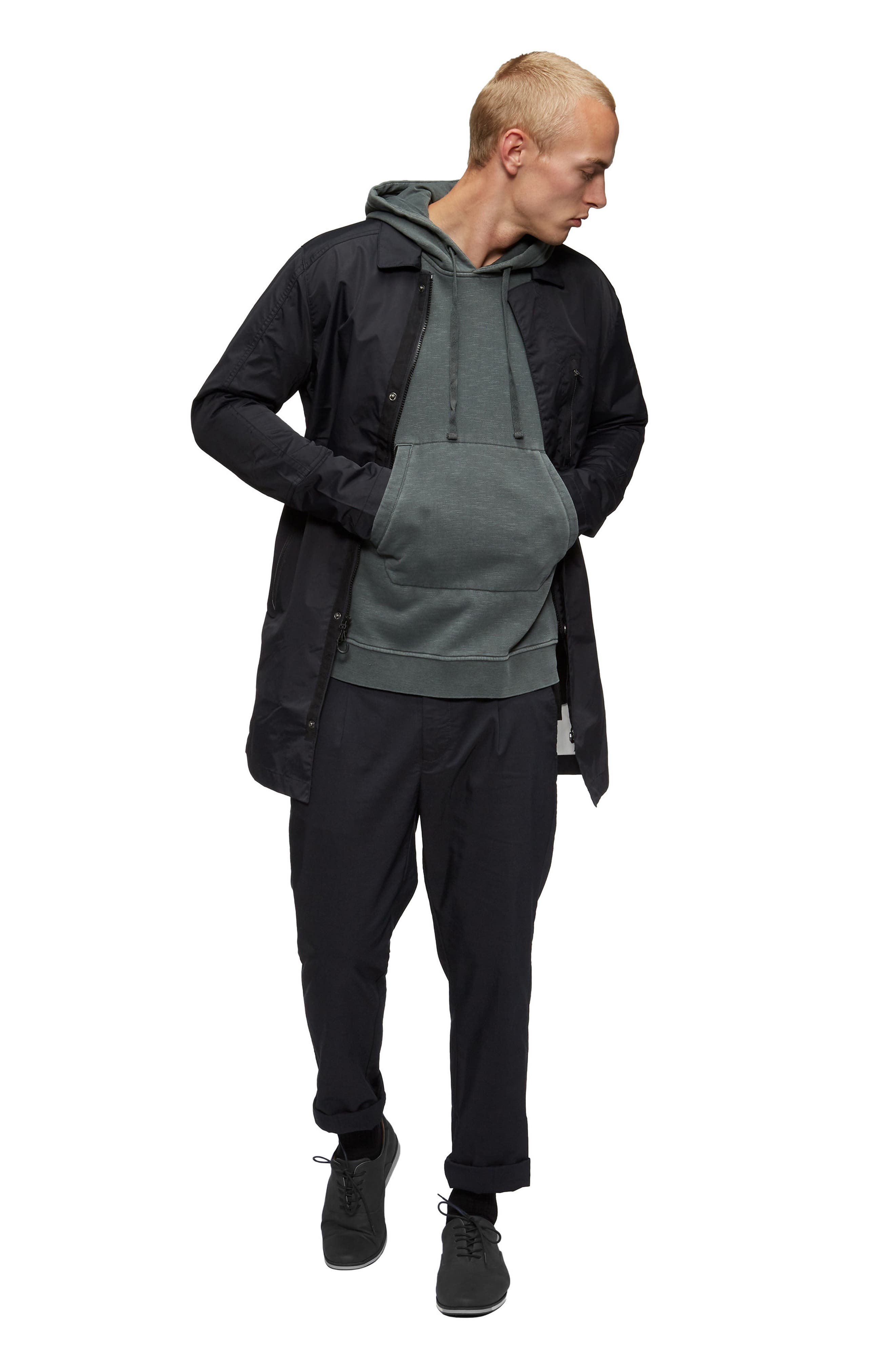 Deckard Weather Resistant Trench Coat,                             Alternate thumbnail 5, color,                             Surplus Green