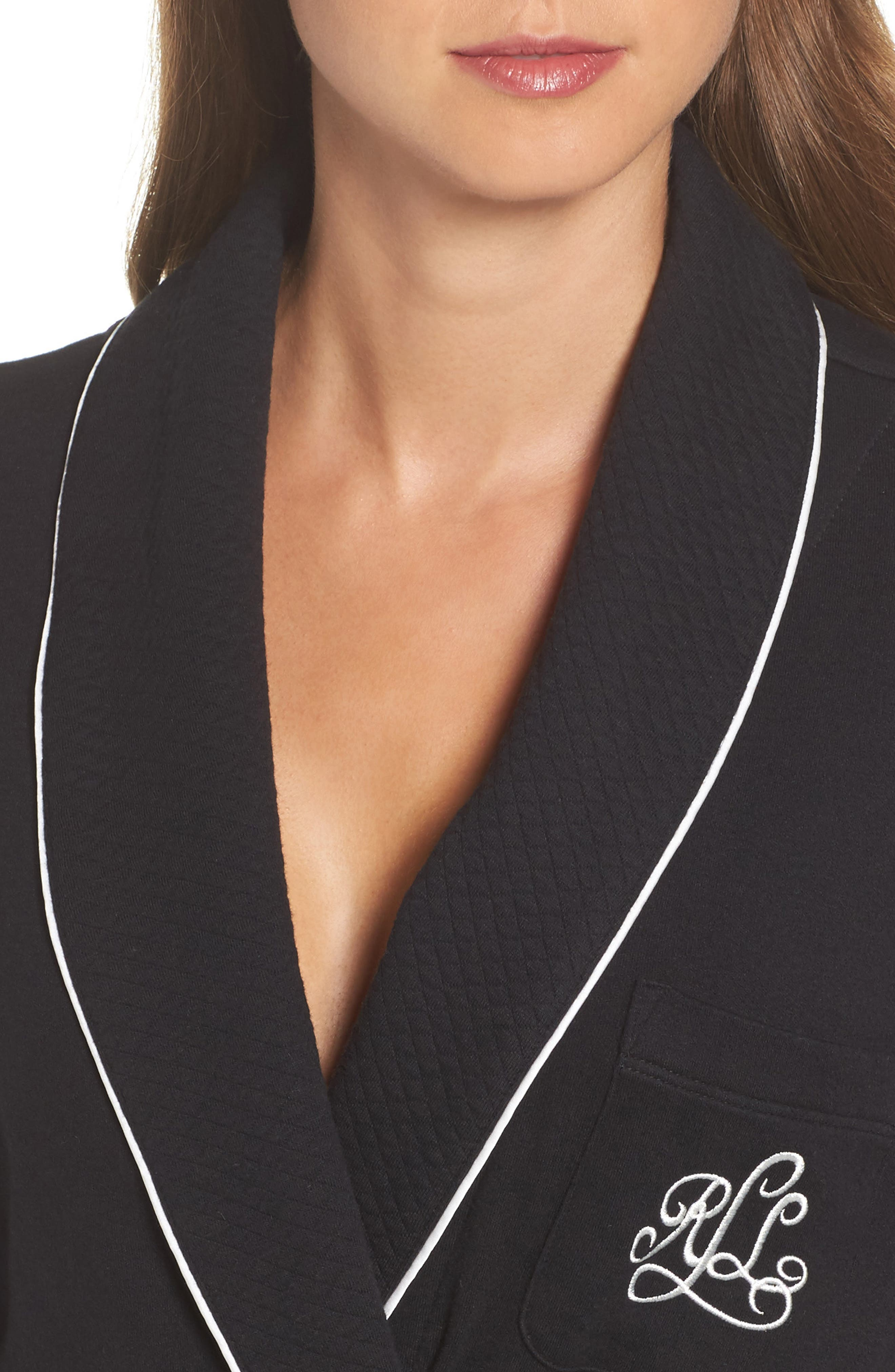 Quilted Collar Robe,                             Alternate thumbnail 4, color,                             Black