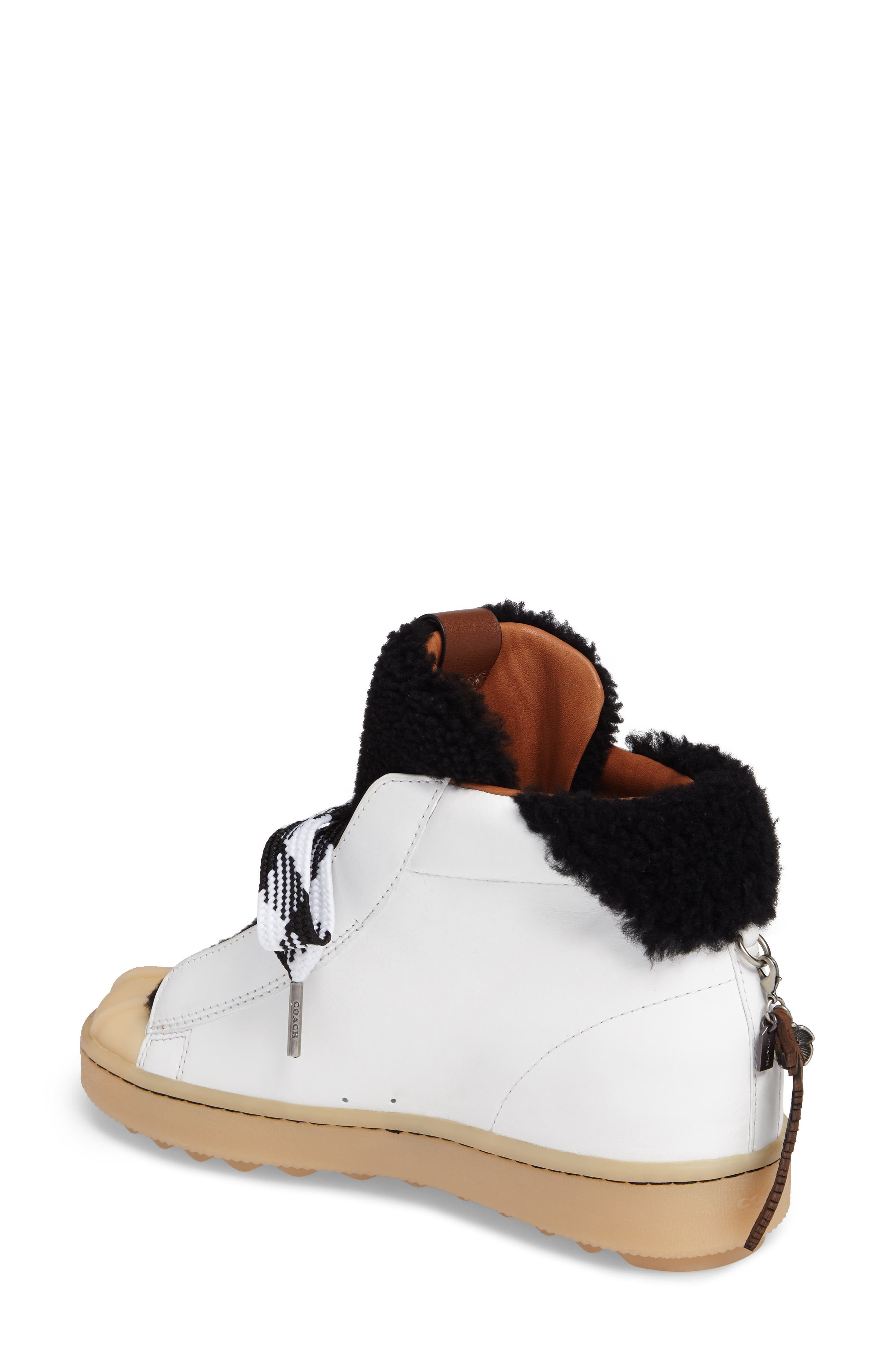 Genuine Shearling High Top Sneaker,                             Alternate thumbnail 2, color,                             Black/ White Suede