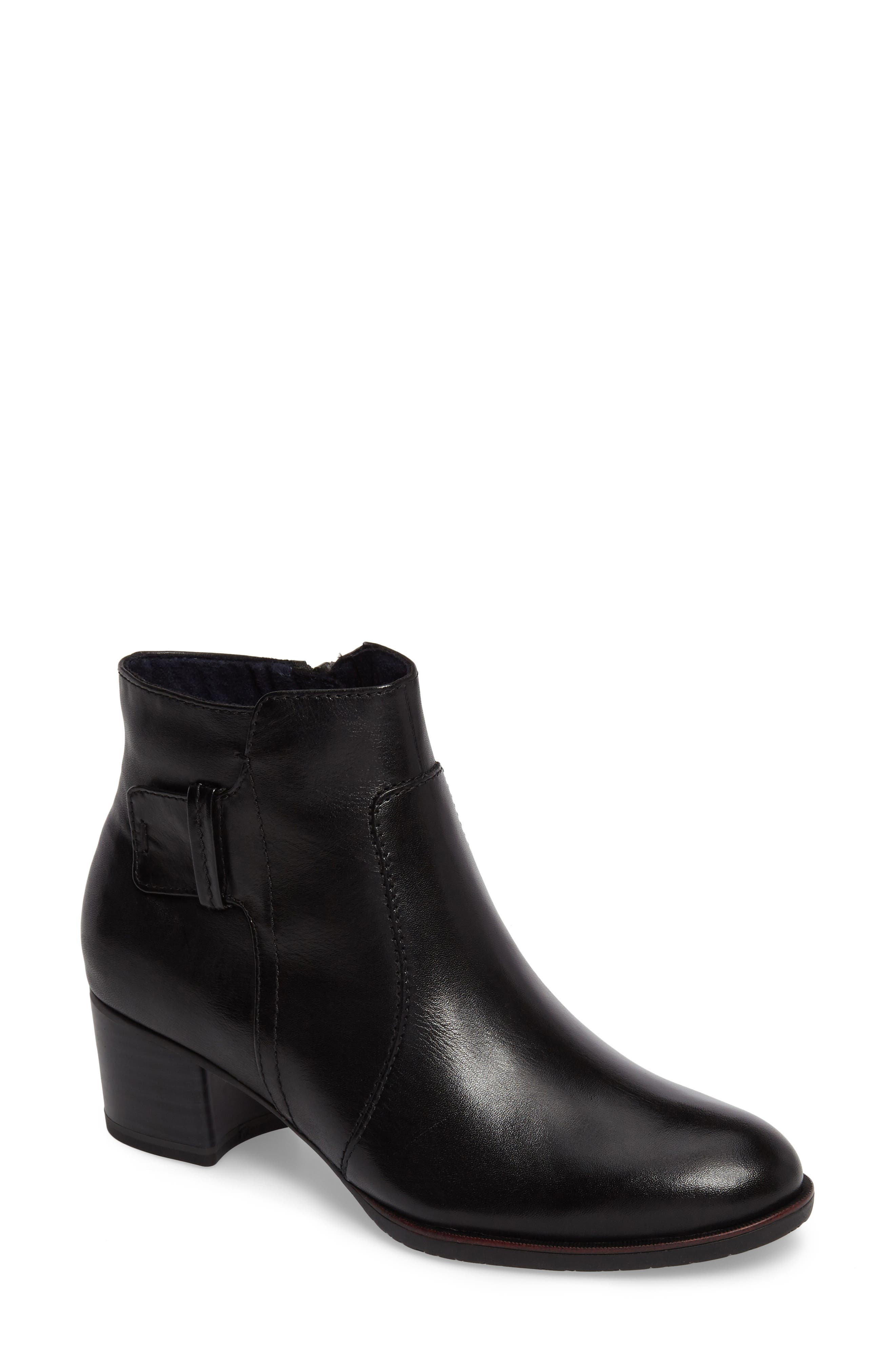 Akaria Mixed Finish Bootie,                         Main,                         color, Black Leather