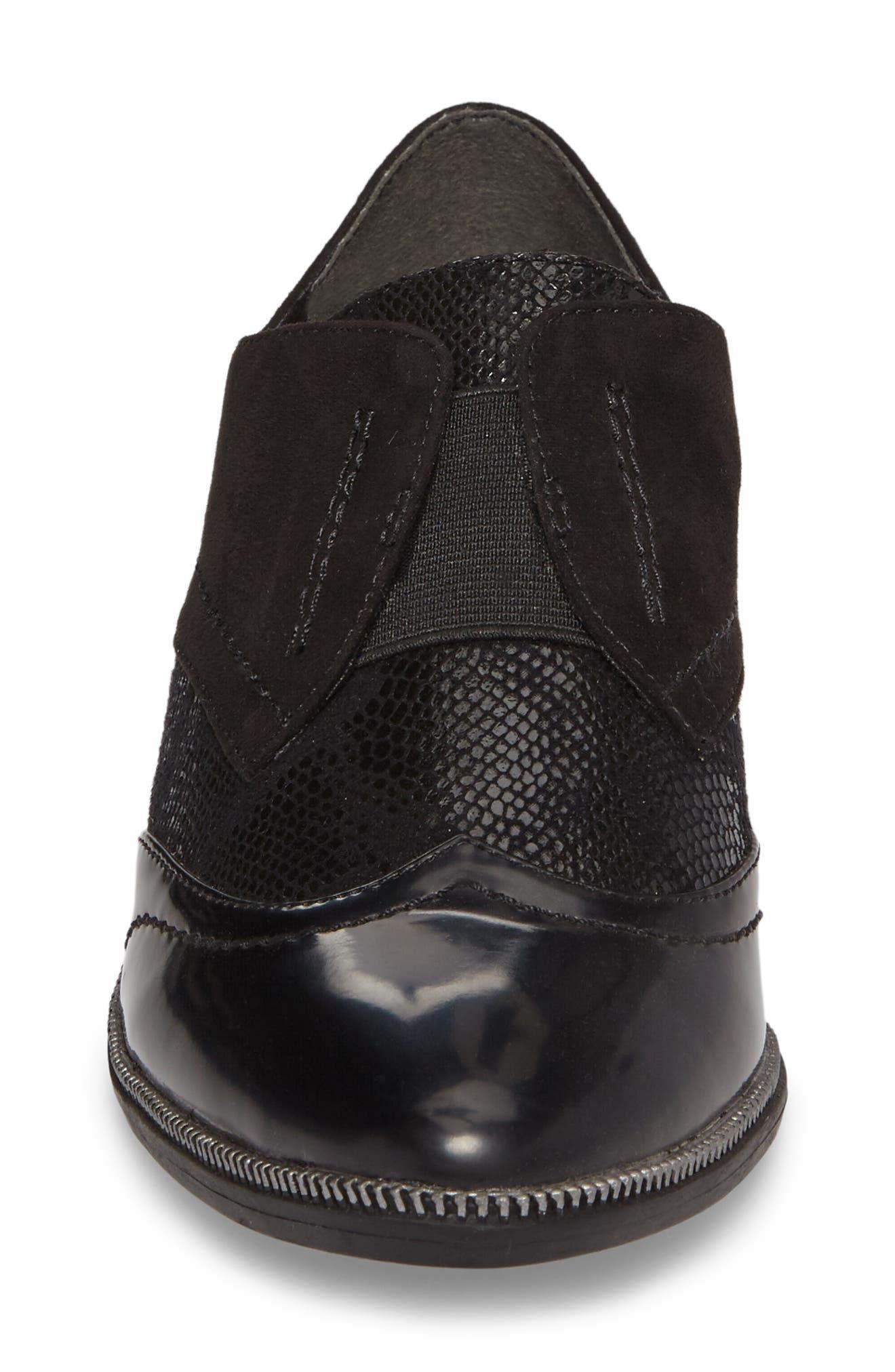 'Phanie' Slip-On Oxford,                             Alternate thumbnail 4, color,                             Black Fabric