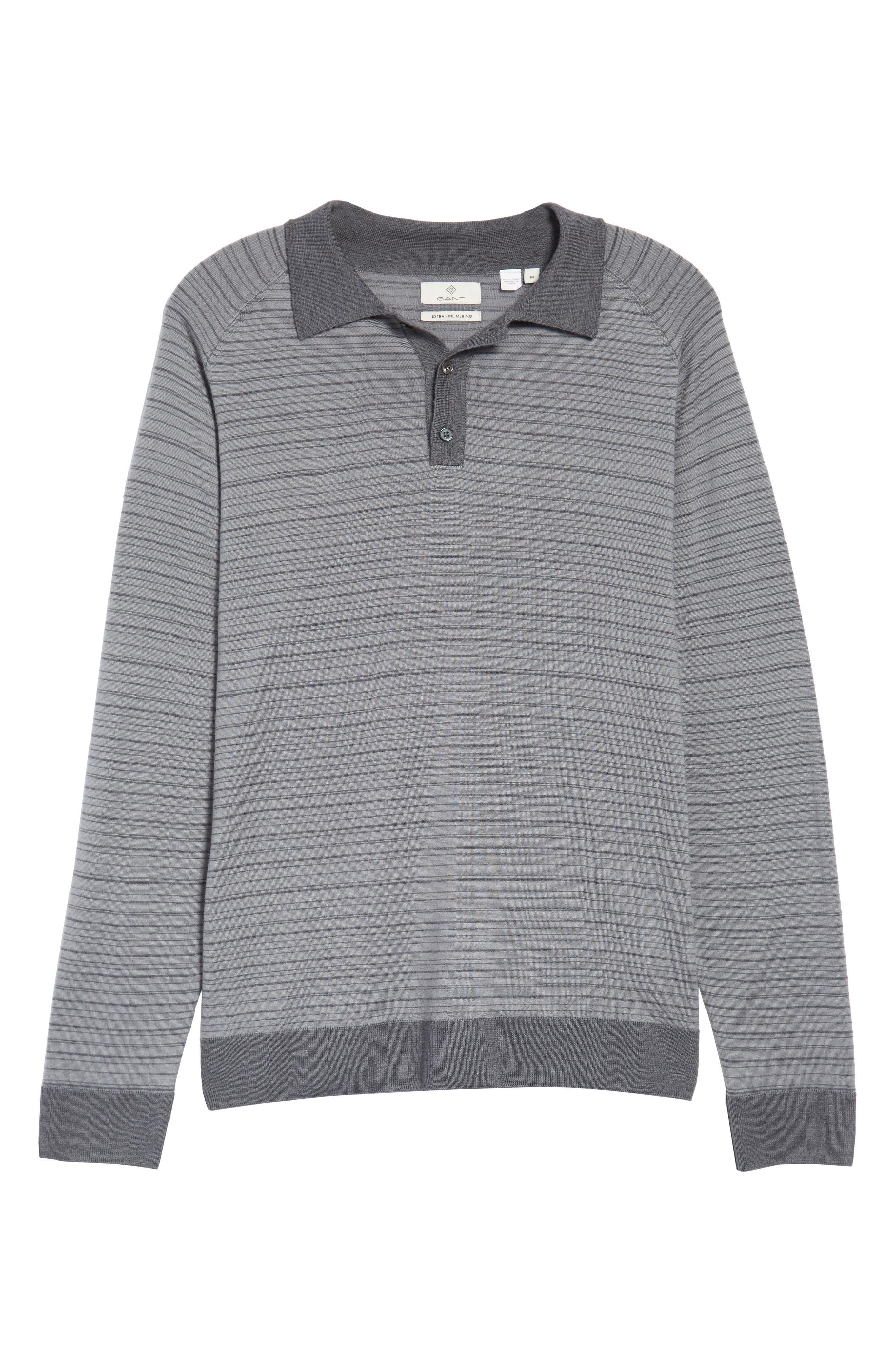Alternate Image 6  - Gant Stripe Merino Wool Polo Sweater