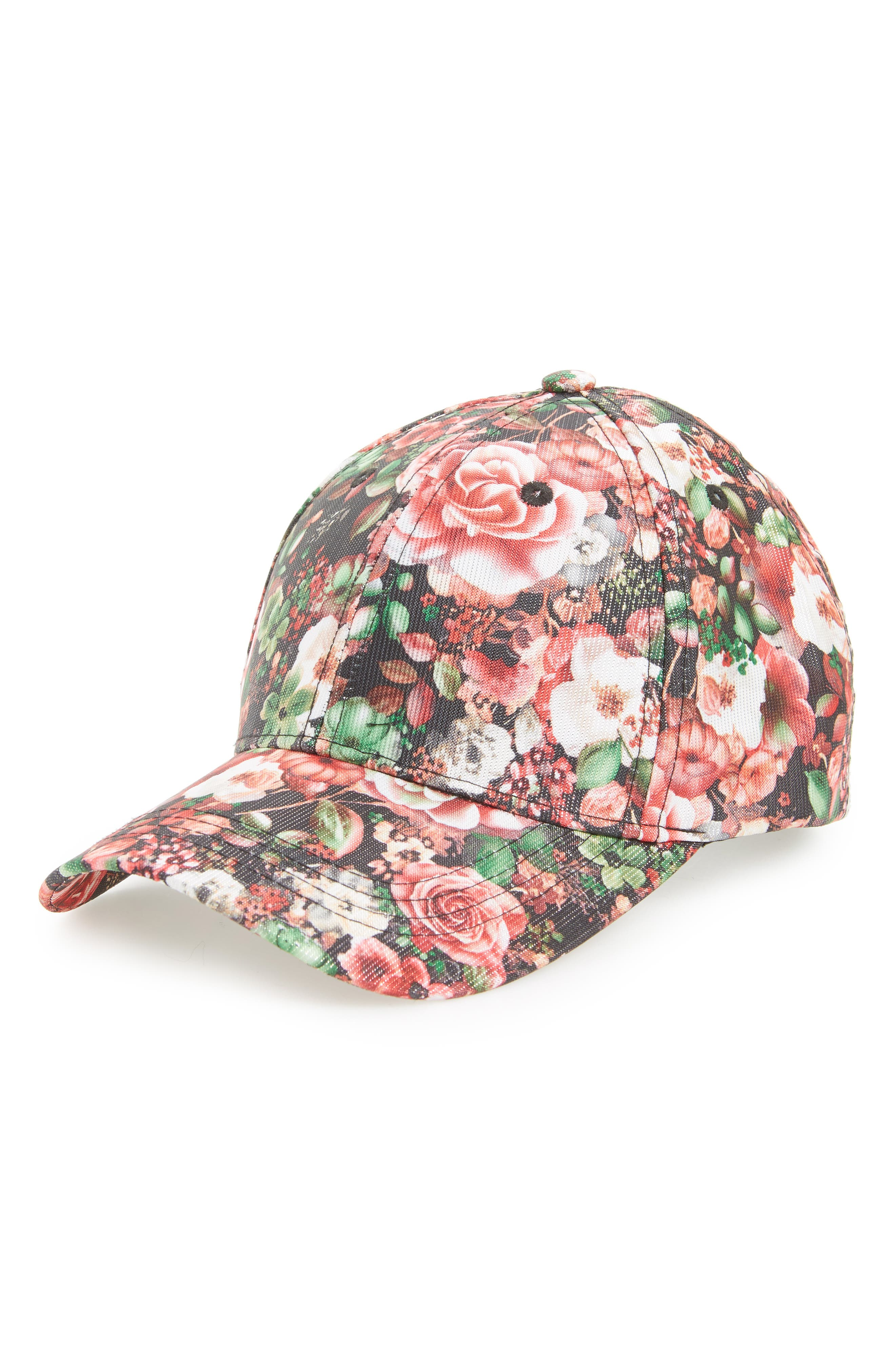Amici Accessories Rose Floral Print Ball Cap
