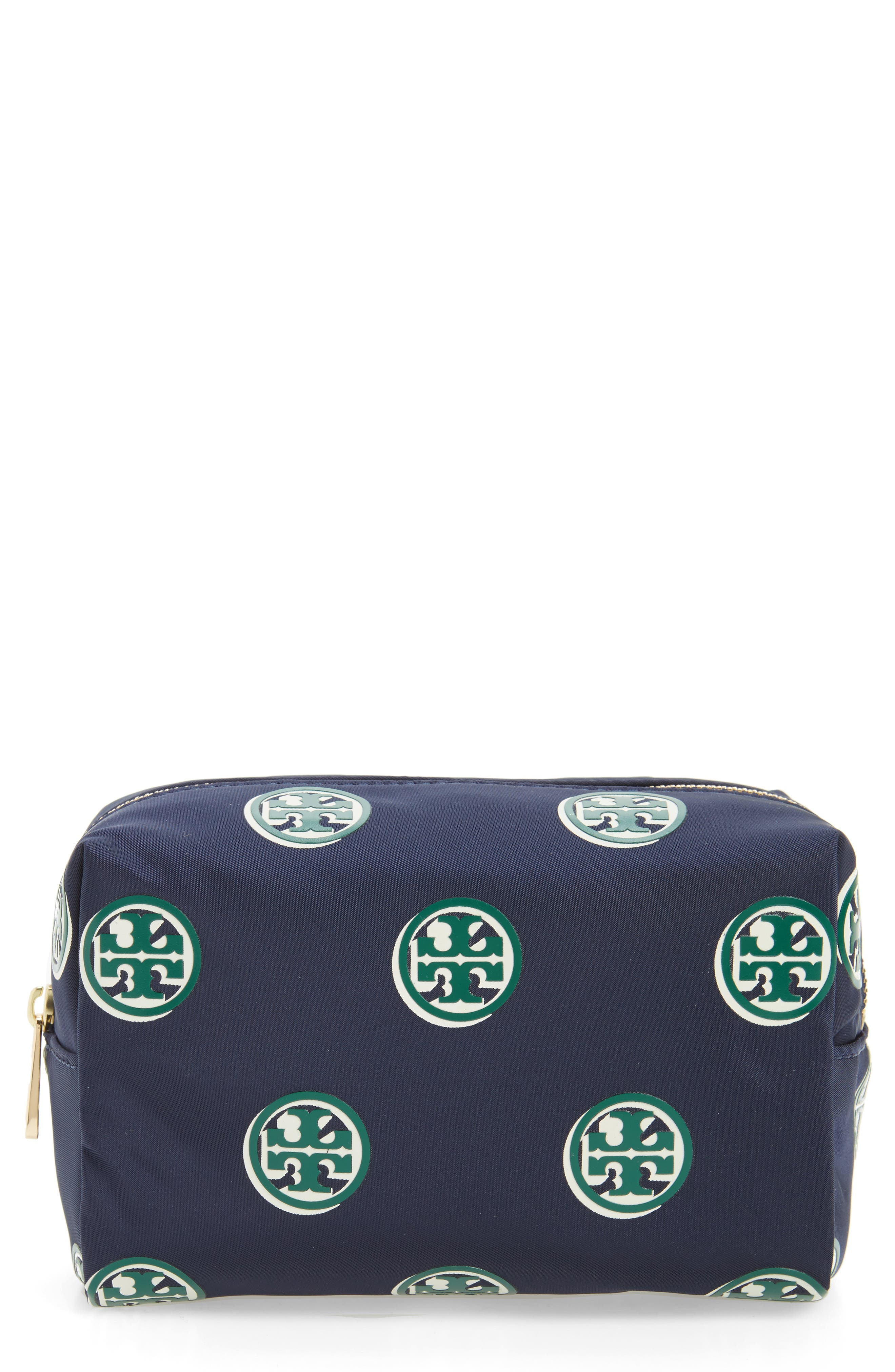 Quinn Printed Brigitte Cosmetics Case,                         Main,                         color, Geo Print Navy