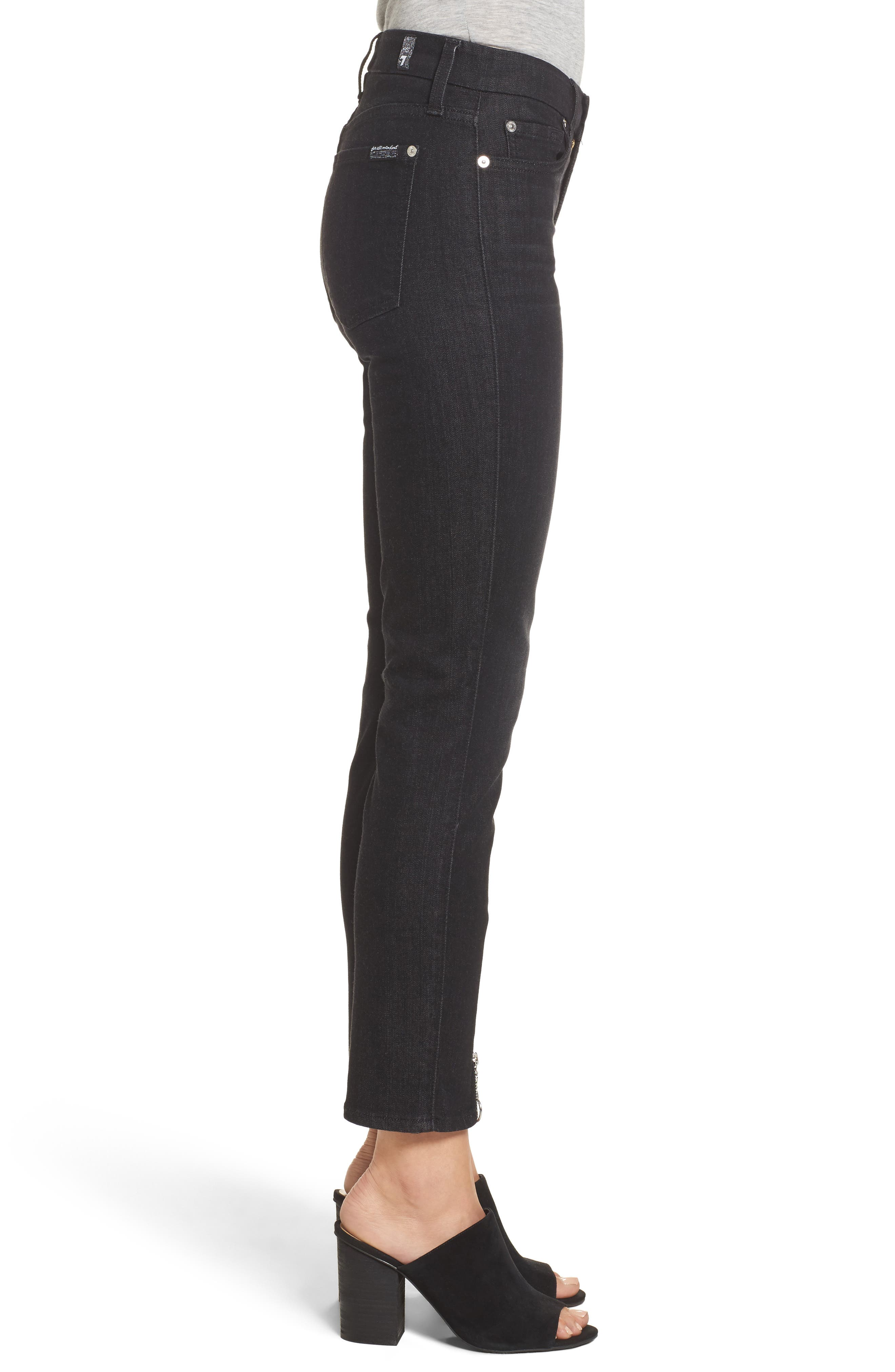 b(air) - Roxanne Ankle Zip Jeans,                             Alternate thumbnail 3, color,                             Bair Noir