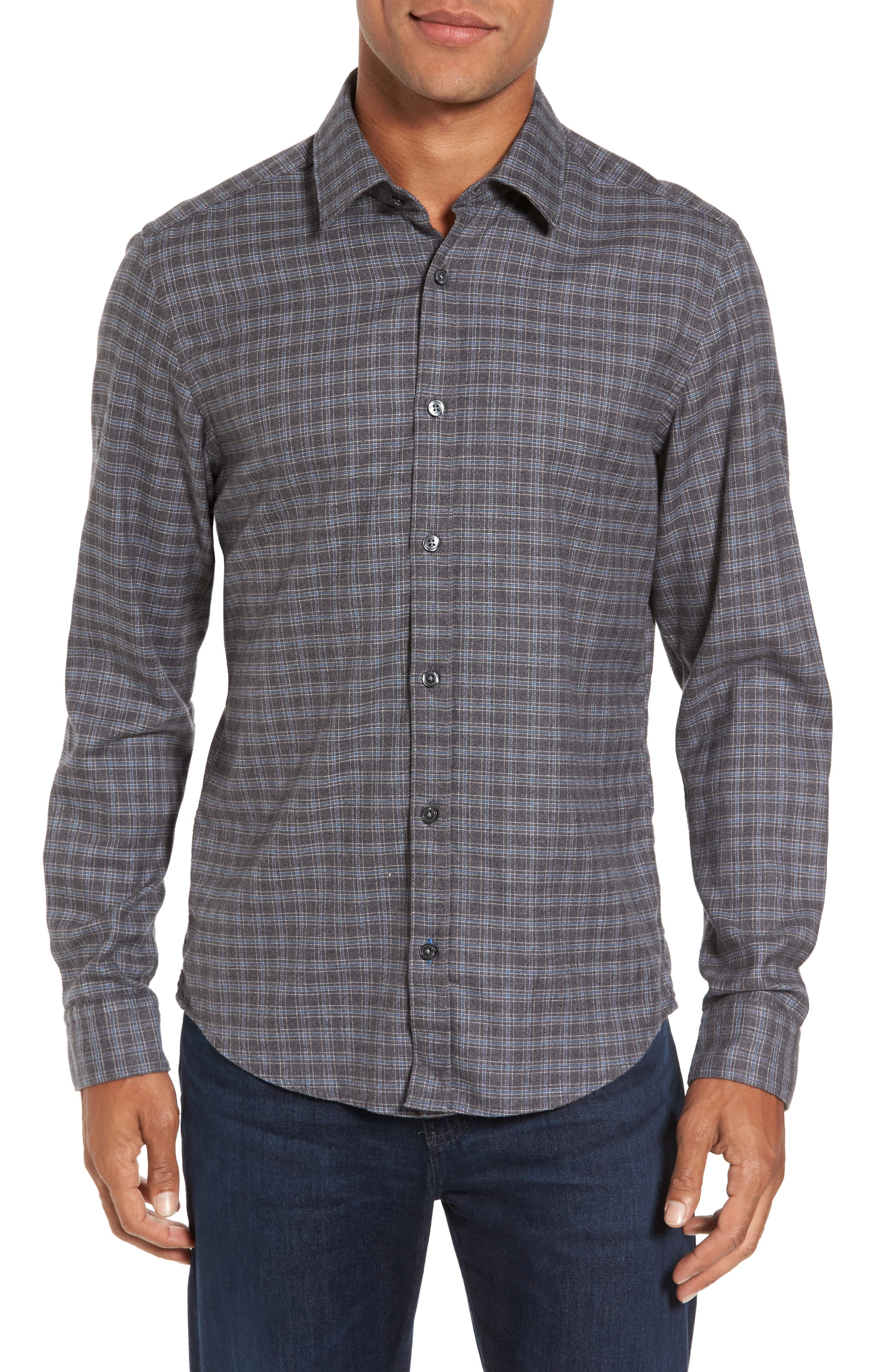 Main Image - BOSS Lance Slim Fit Flannel Sport Shirt