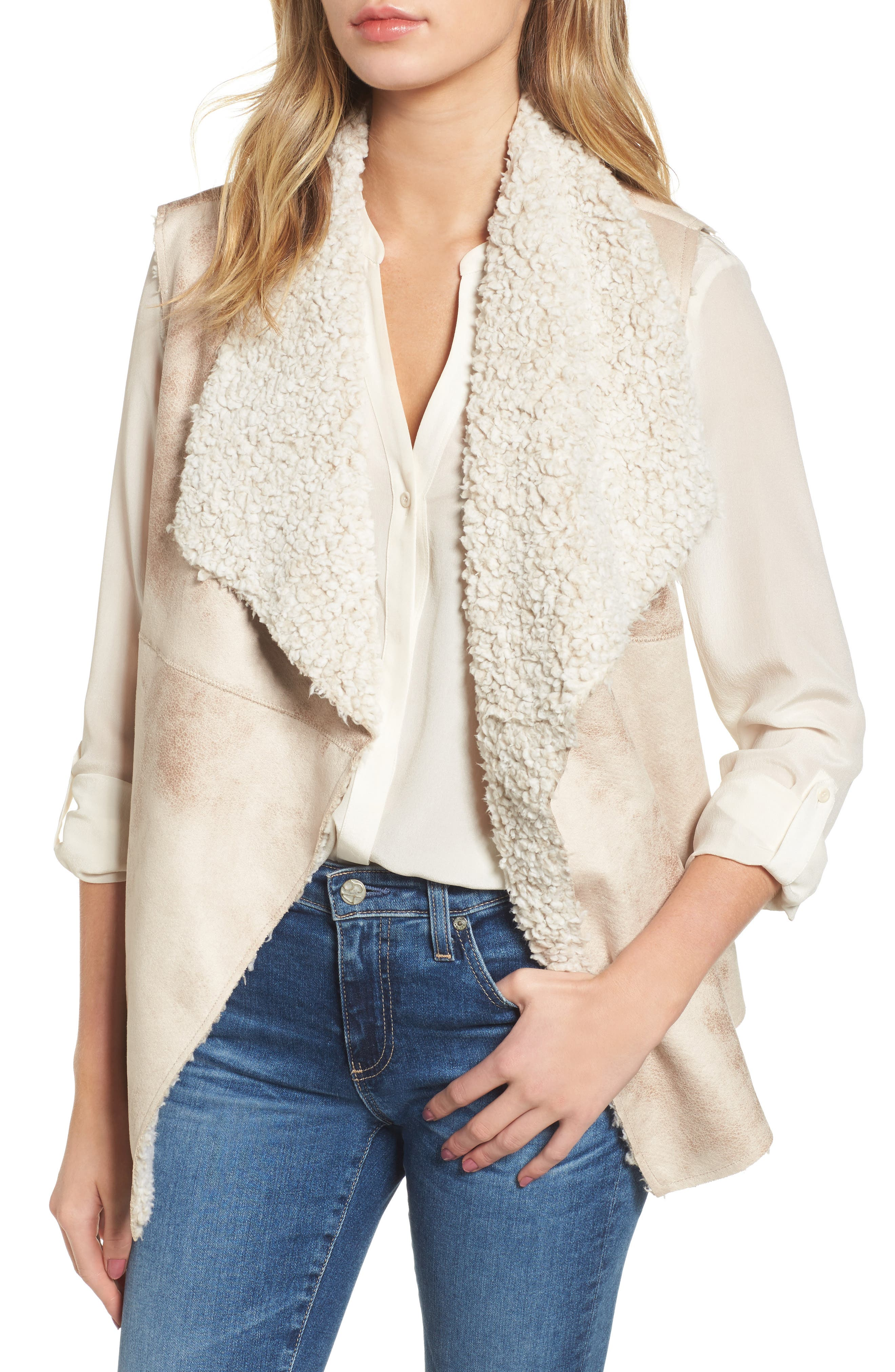 Frosty Faux Shearling Vest,                         Main,                         color, Natural
