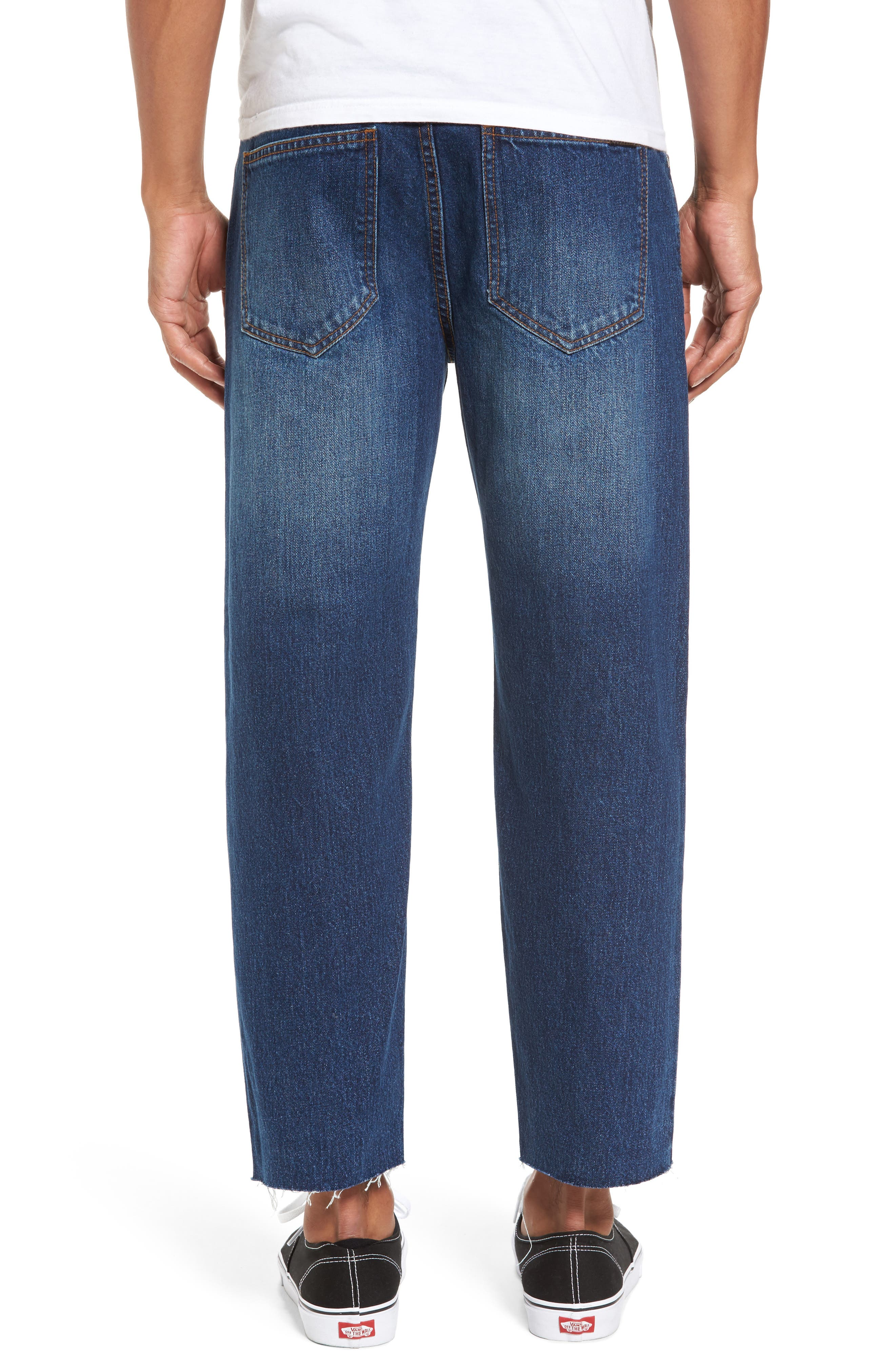 Otis Straight Fit Crop Jeans,                             Alternate thumbnail 2, color,                             Worn Mid Blue Raw Hem