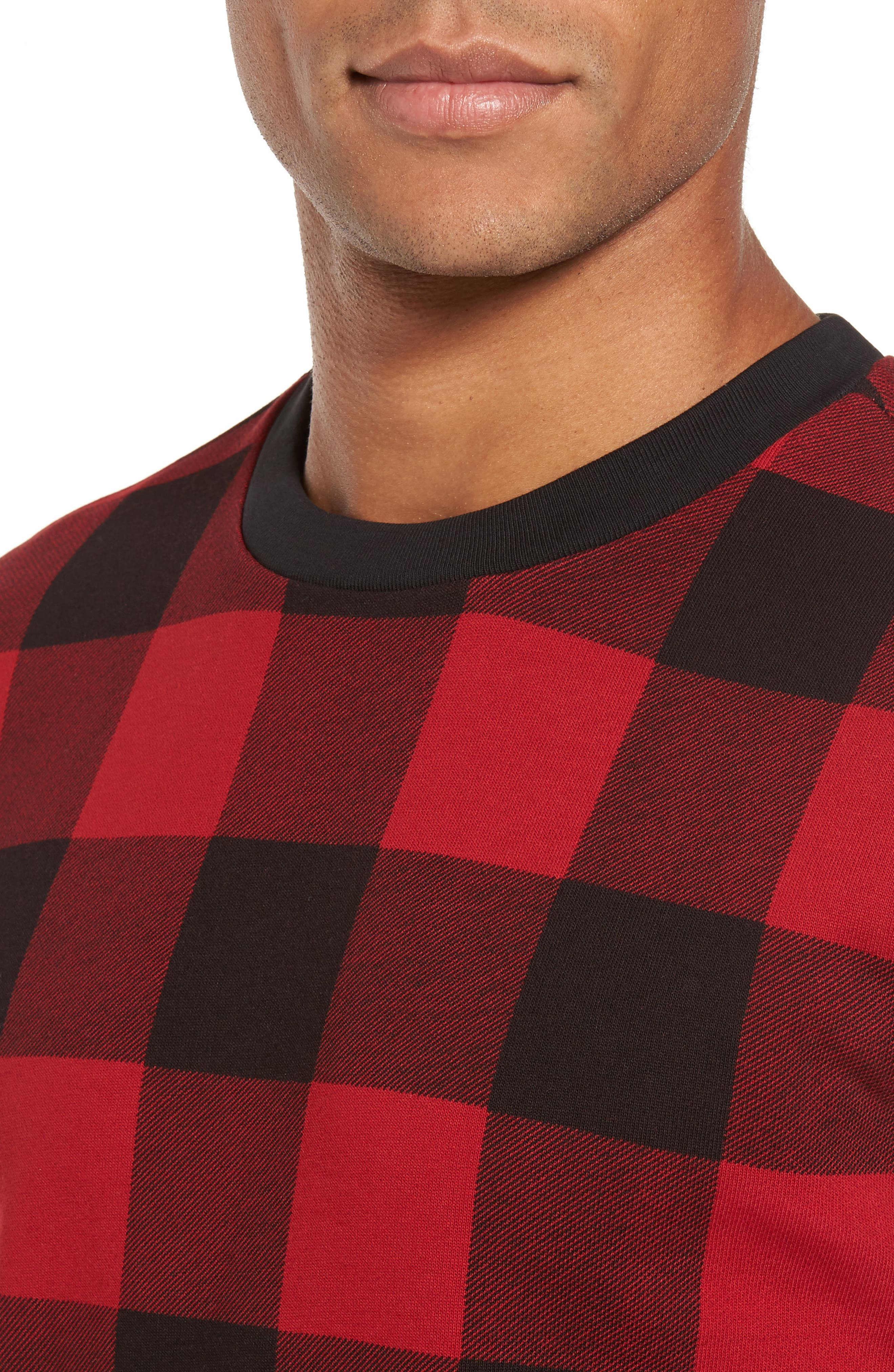 Skubic Check Slim Fit Sweater,                             Alternate thumbnail 4, color,                             Red