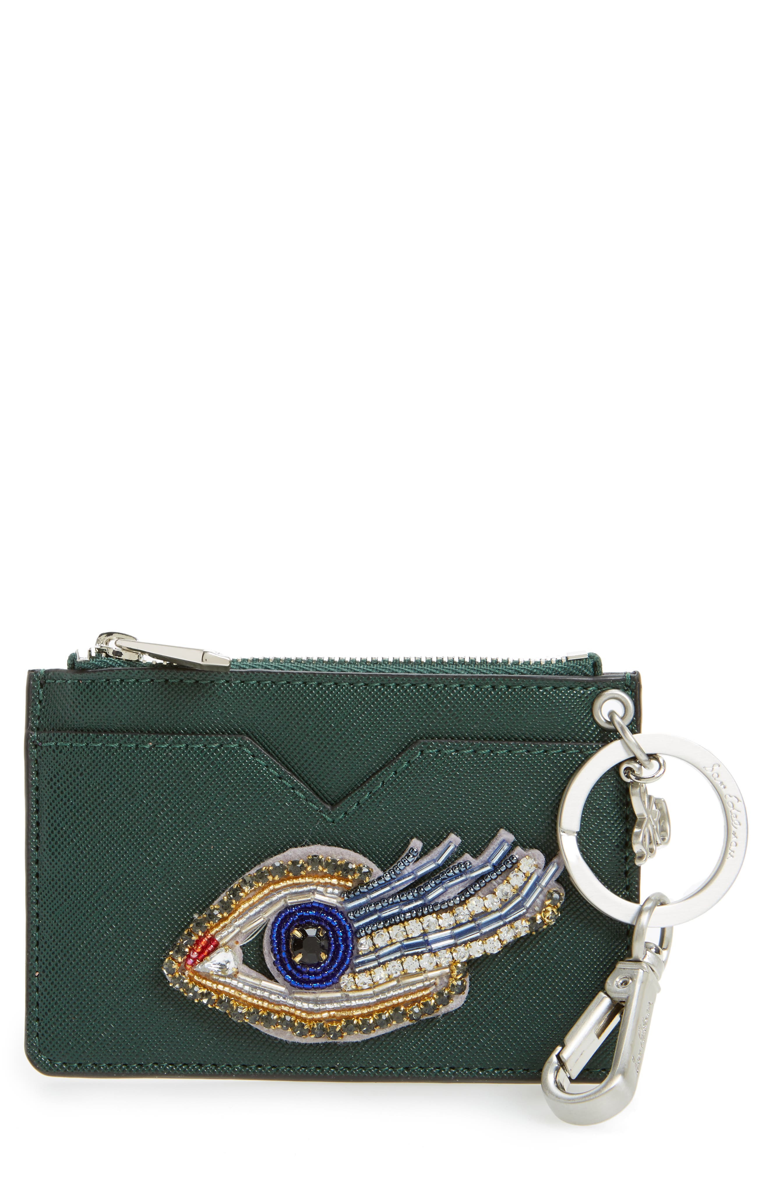 Carter Eye Embellished Faux Leather Card Case,                             Main thumbnail 1, color,                             Eden