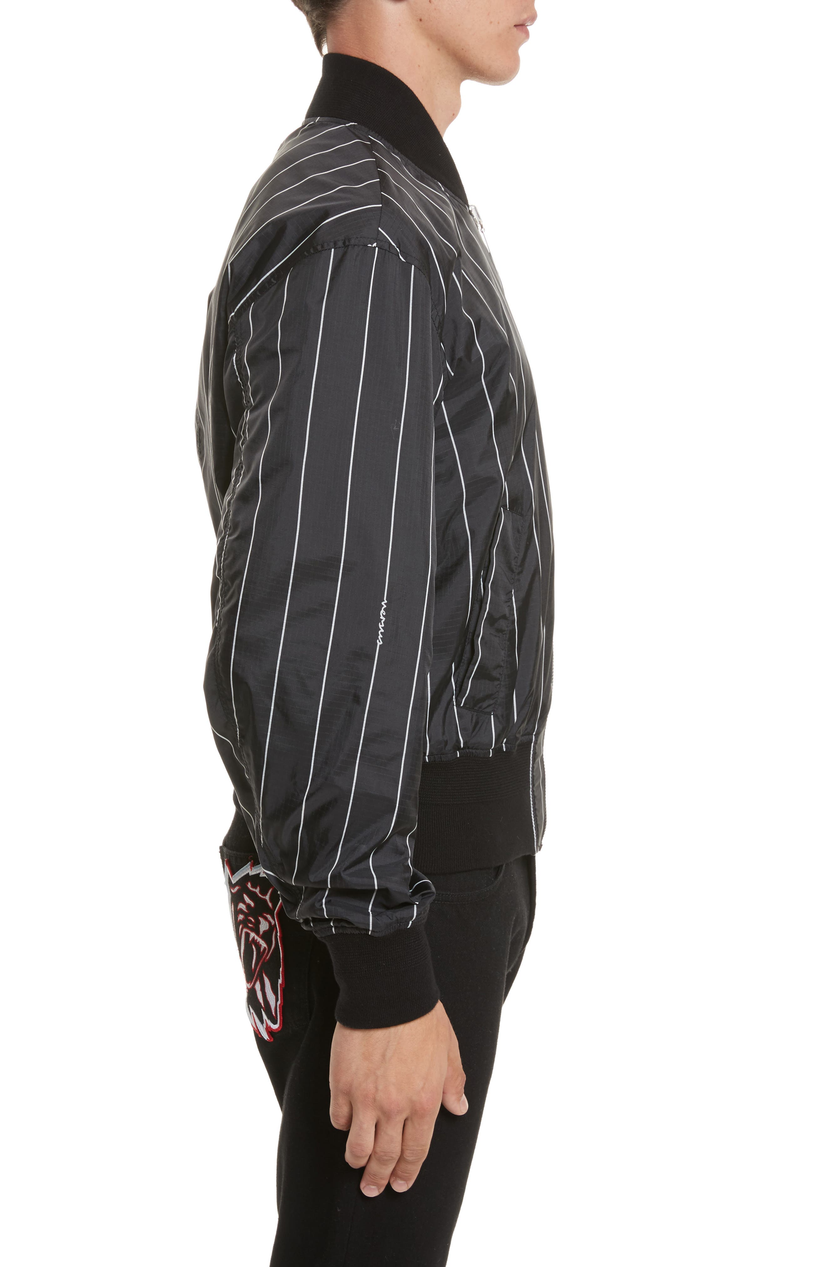 VERSUS by Versace Reversible Pinstripe Bomber Jacket,                             Alternate thumbnail 3, color,                             Black