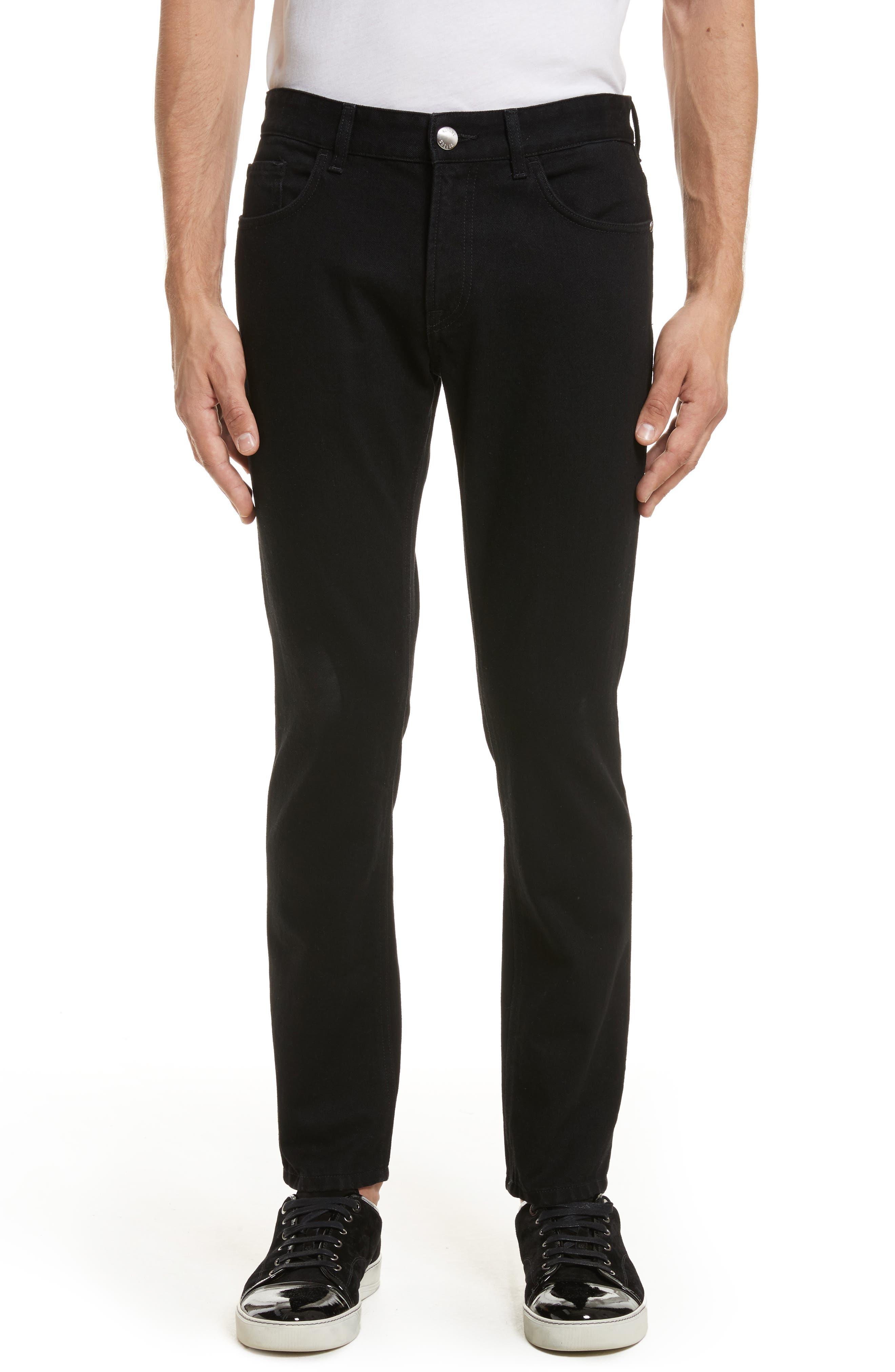 VERSUS by Versace Lion Slim Fit Jeans,                             Main thumbnail 1, color,                             Black