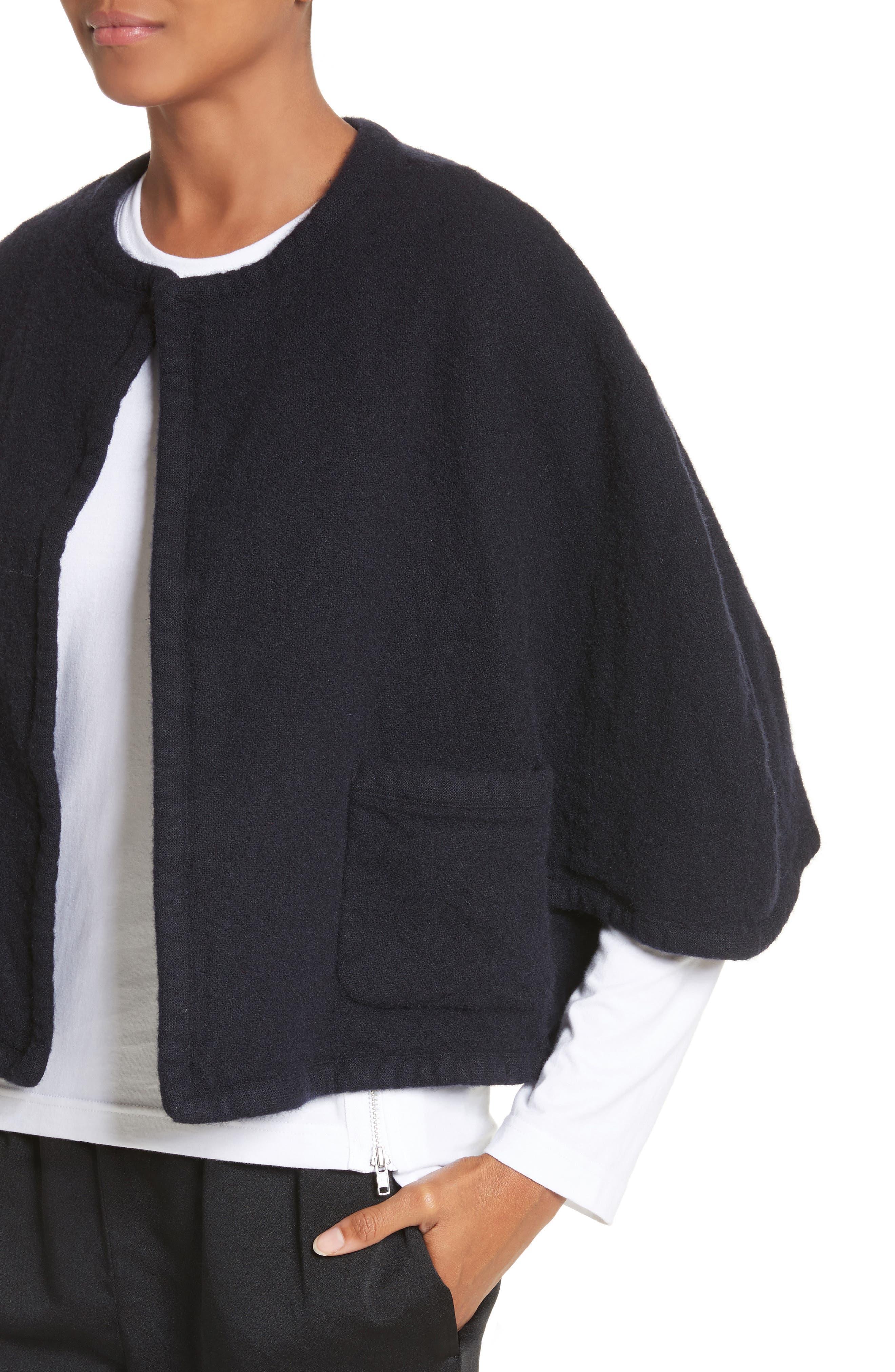 Elbow Sleeve Crop Jacket,                             Alternate thumbnail 4, color,                             Navy