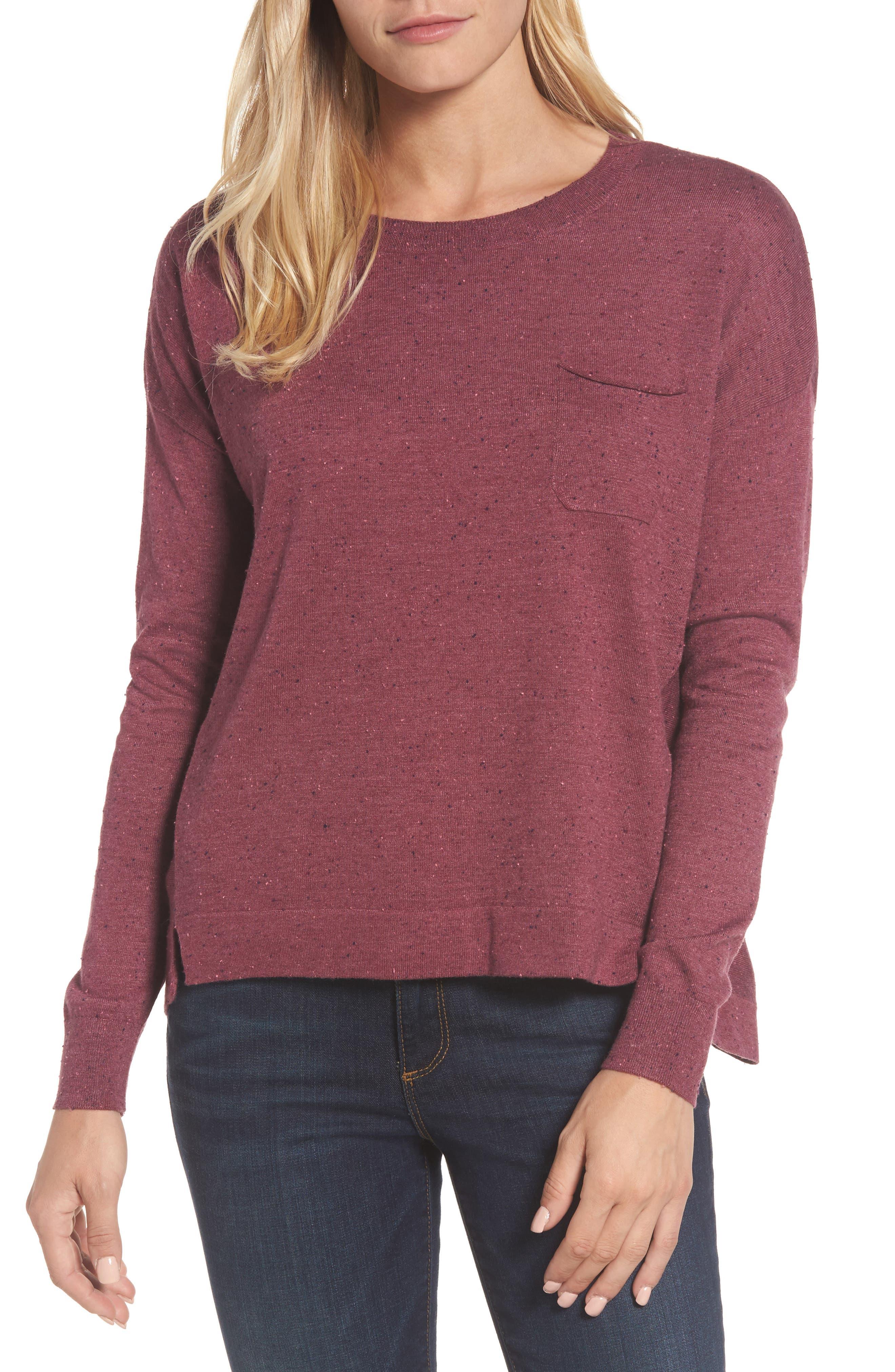 Caslon® Pleat Back High/Low Crewneck Sweater (Regular & Petite)