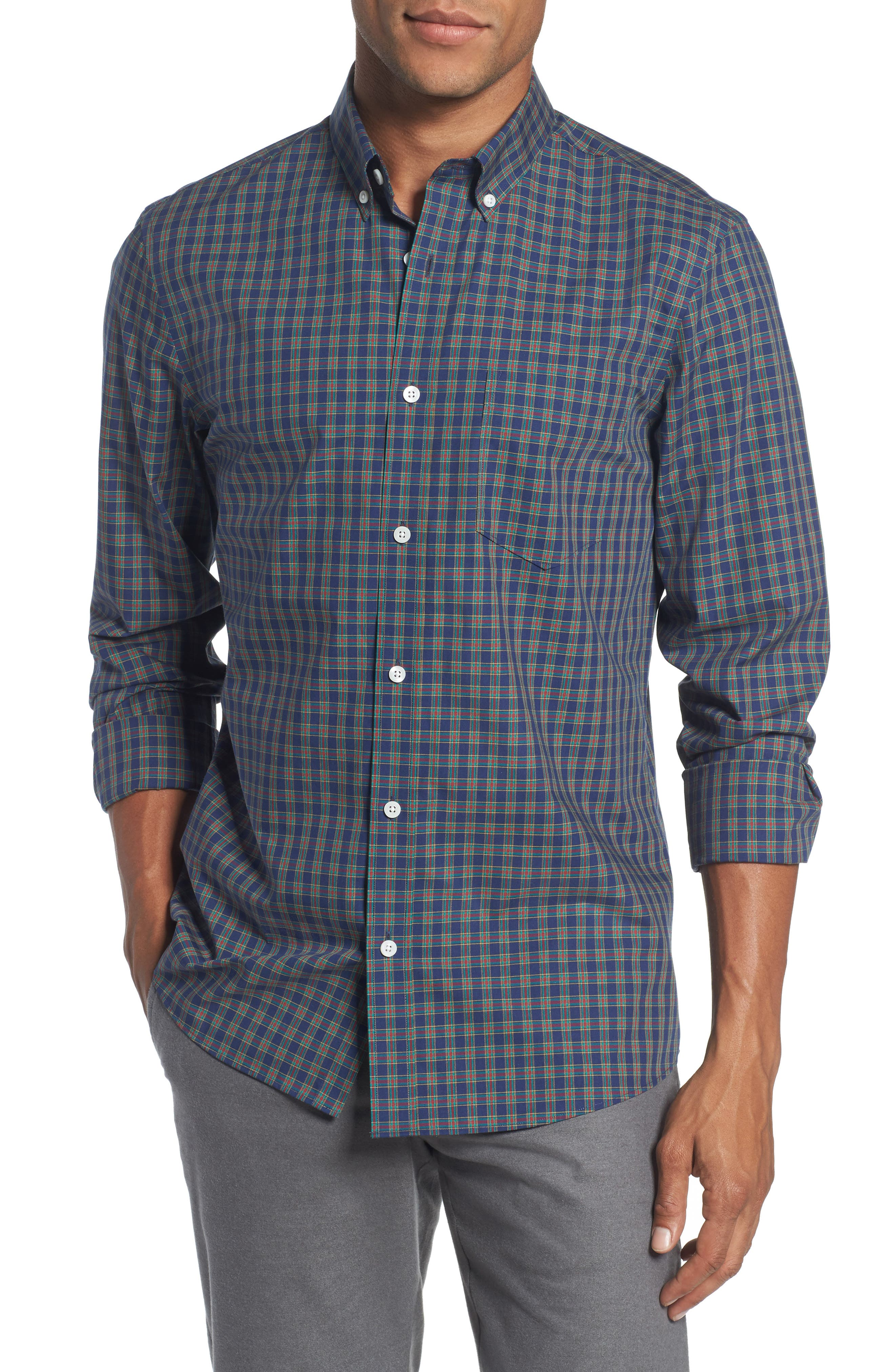 Trim Fit Non-Iron Plaid Sport Shirt,                         Main,                         color, Navy Peacoat Red Tartan