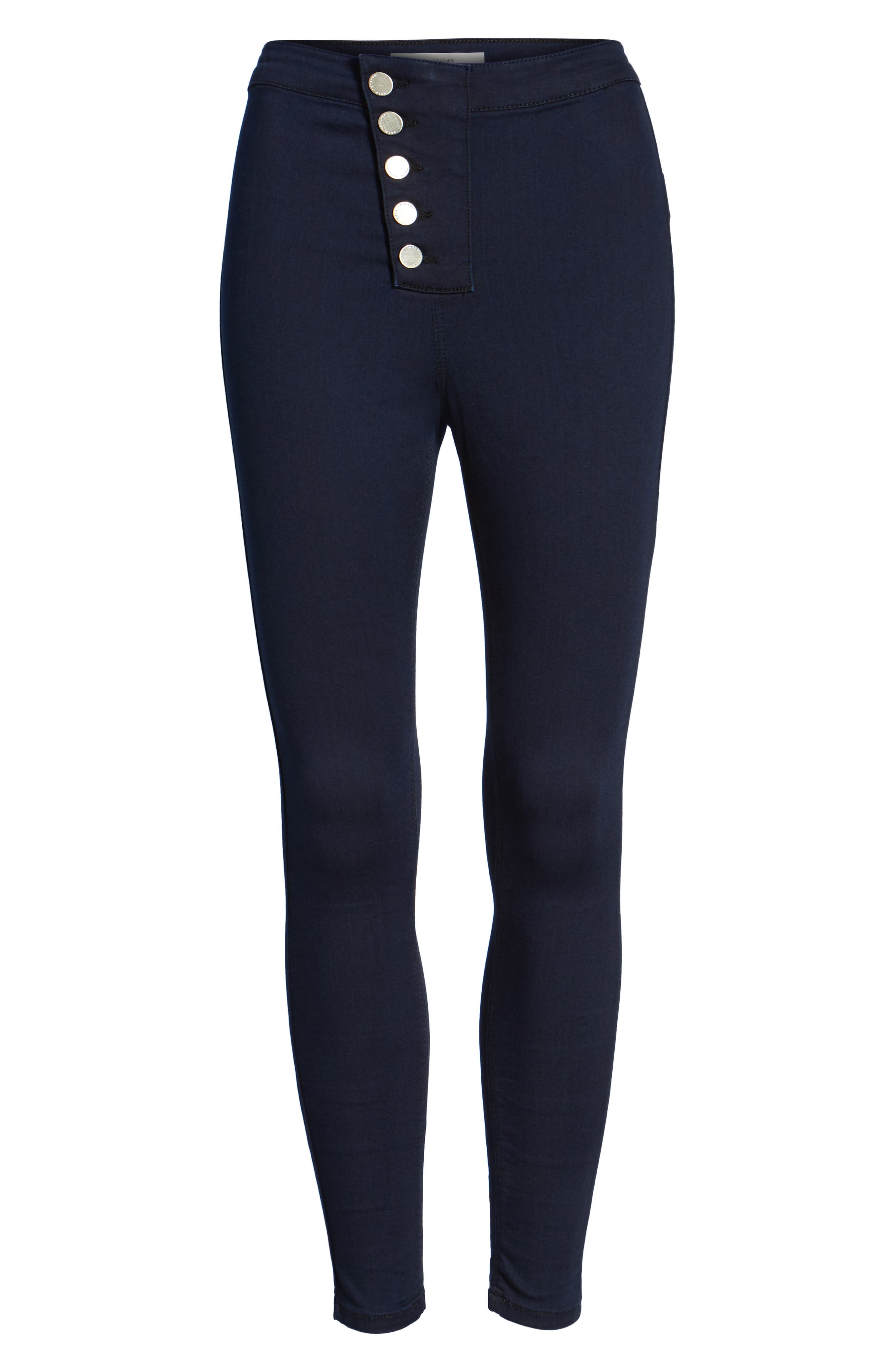 Alternate Image 6  - Topshop Joni Button Front Skinny Jeans