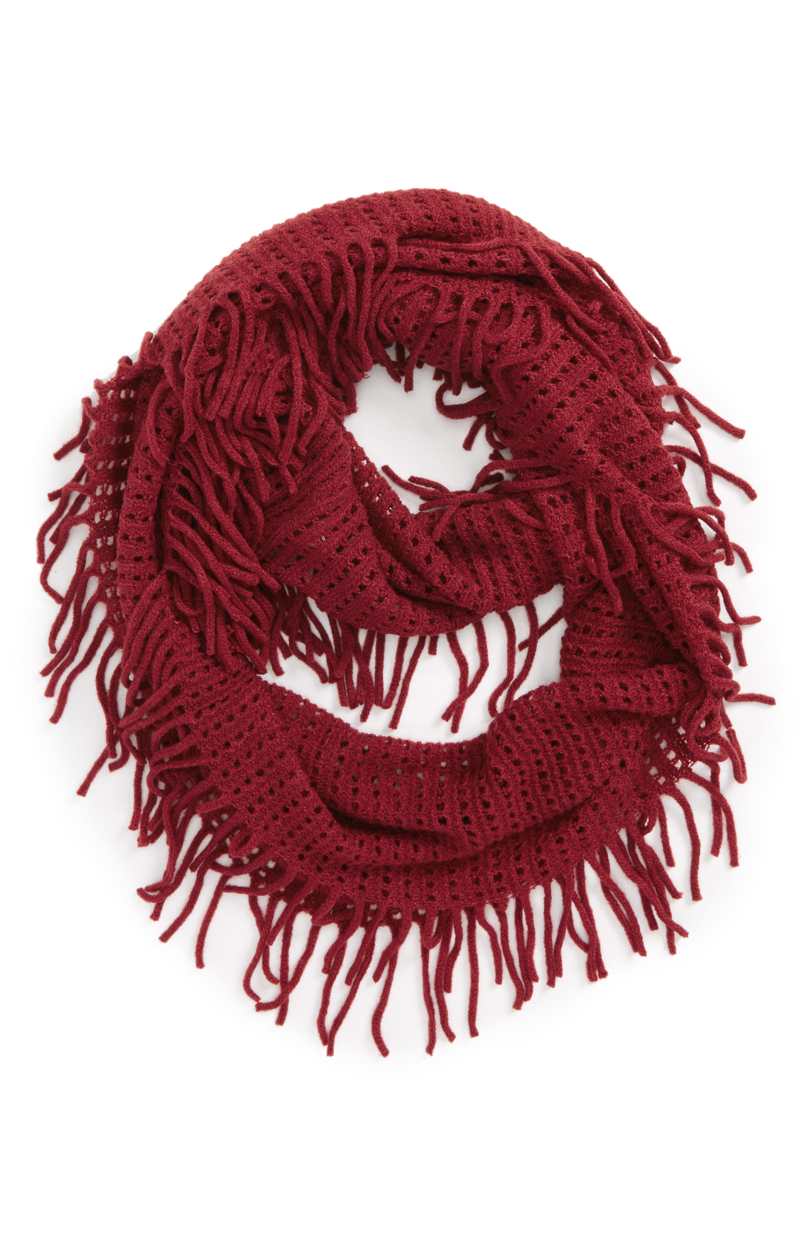Fringe Trim Infinity Scarf,                             Main thumbnail 1, color,                             Burgundy