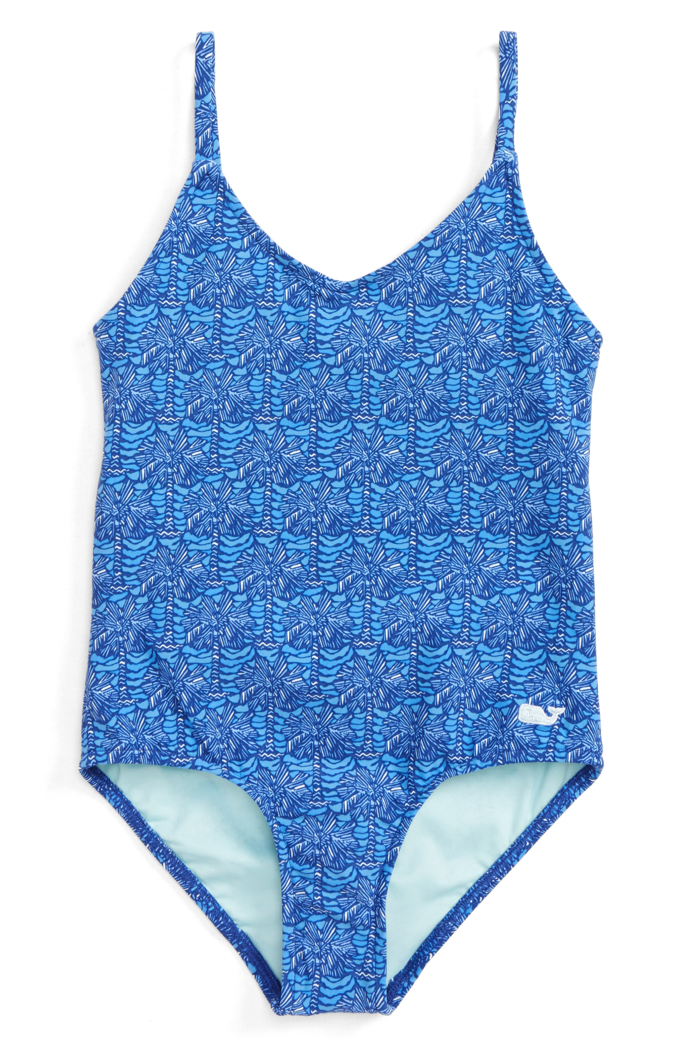 Palmetto Print One-Piece Swimsuit,                             Main thumbnail 1, color,                             Royal Ocean