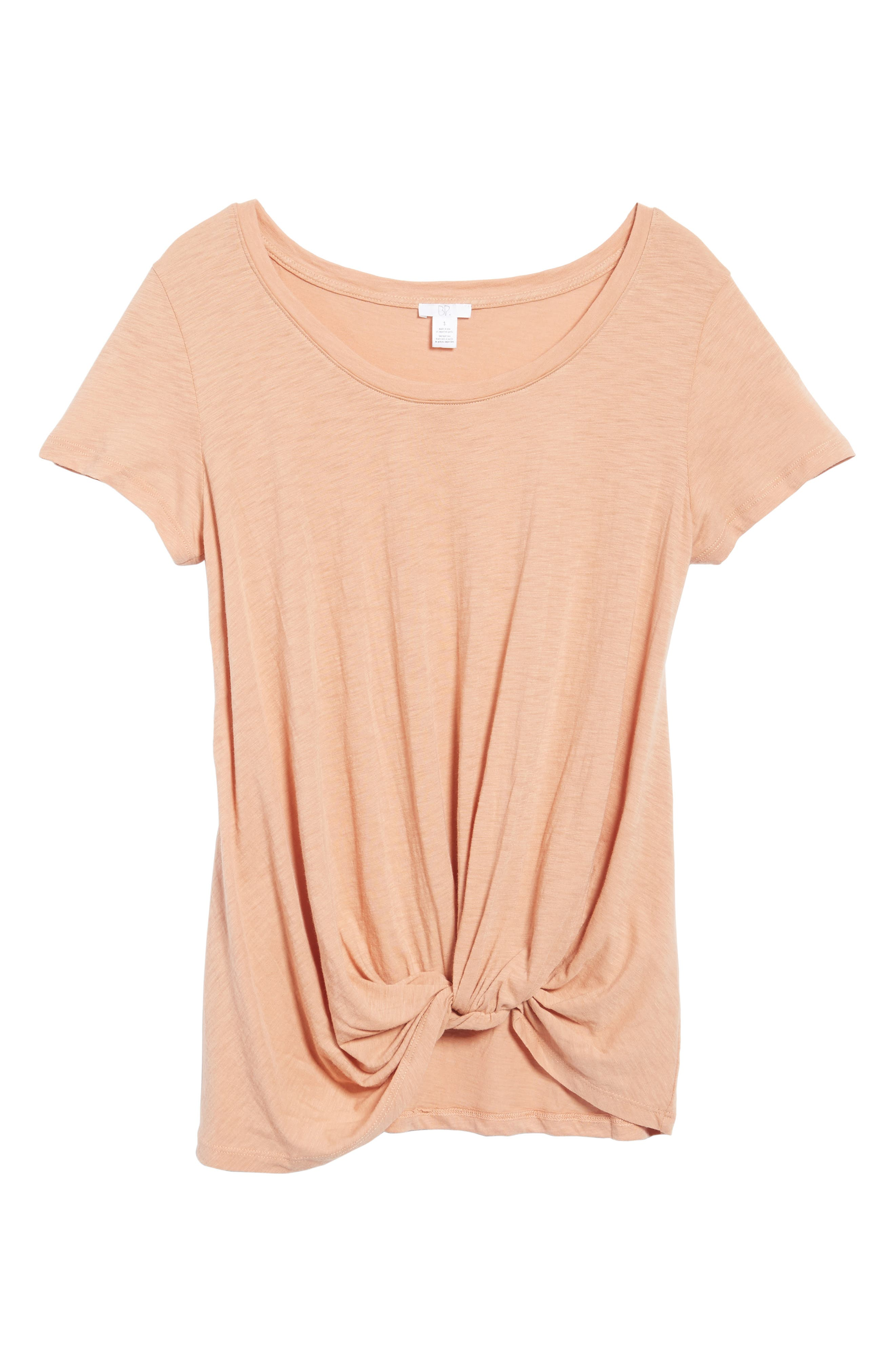 Twist Front Tee,                             Alternate thumbnail 6, color,                             Tan Cork