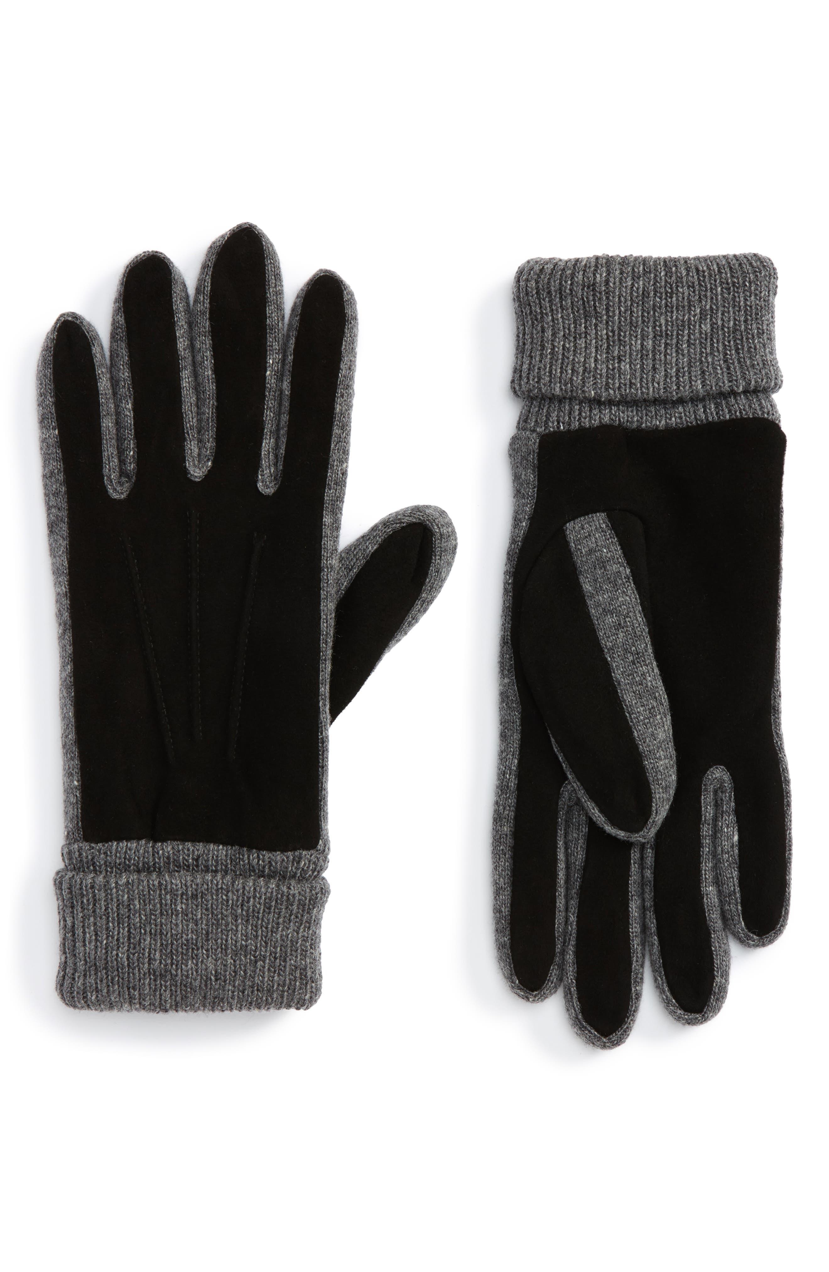 Nordstrom Men's Shop Suede Trim Knit Gloves