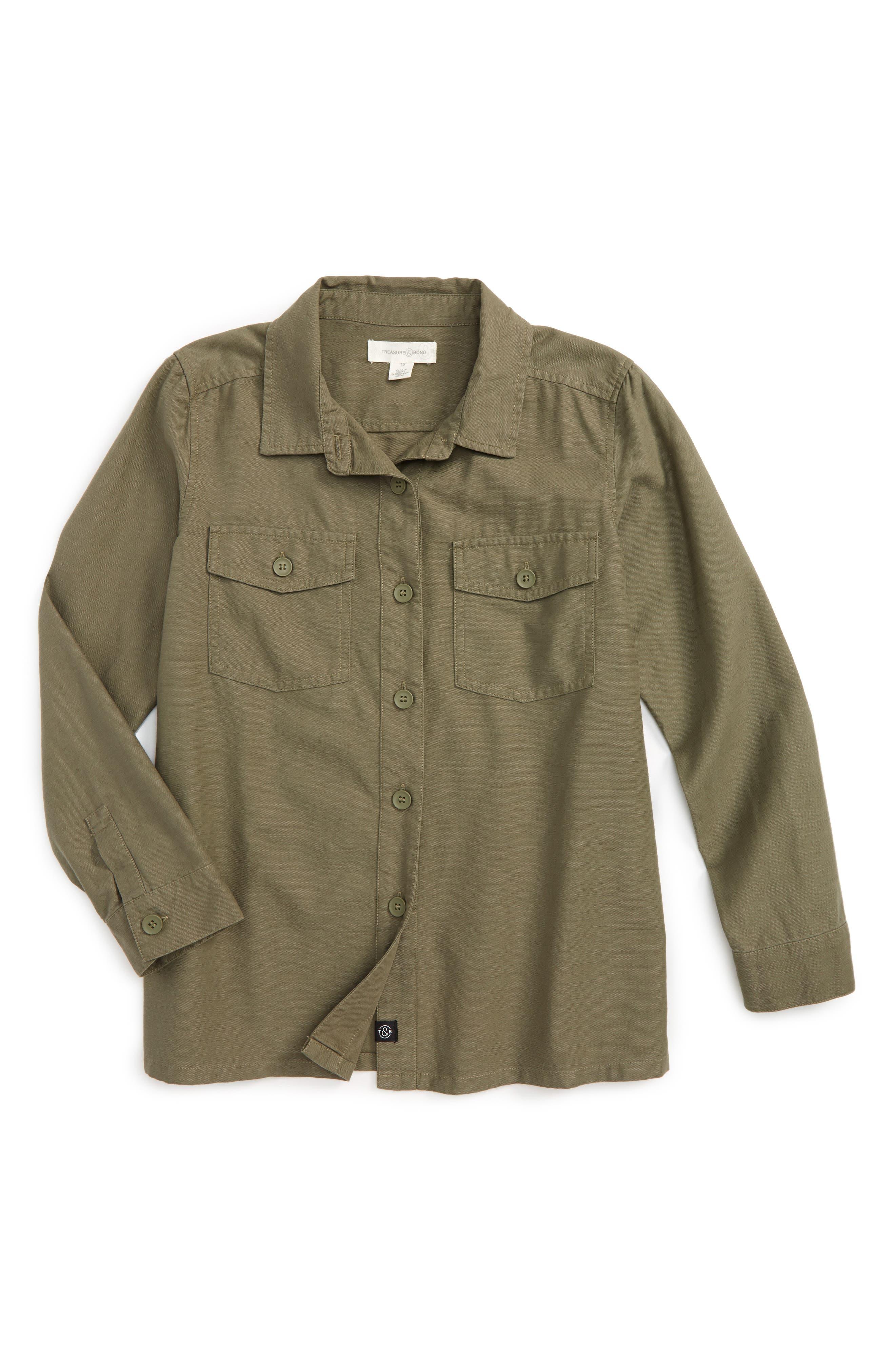 Utility Shirt,                             Main thumbnail 1, color,                             Olive Grove