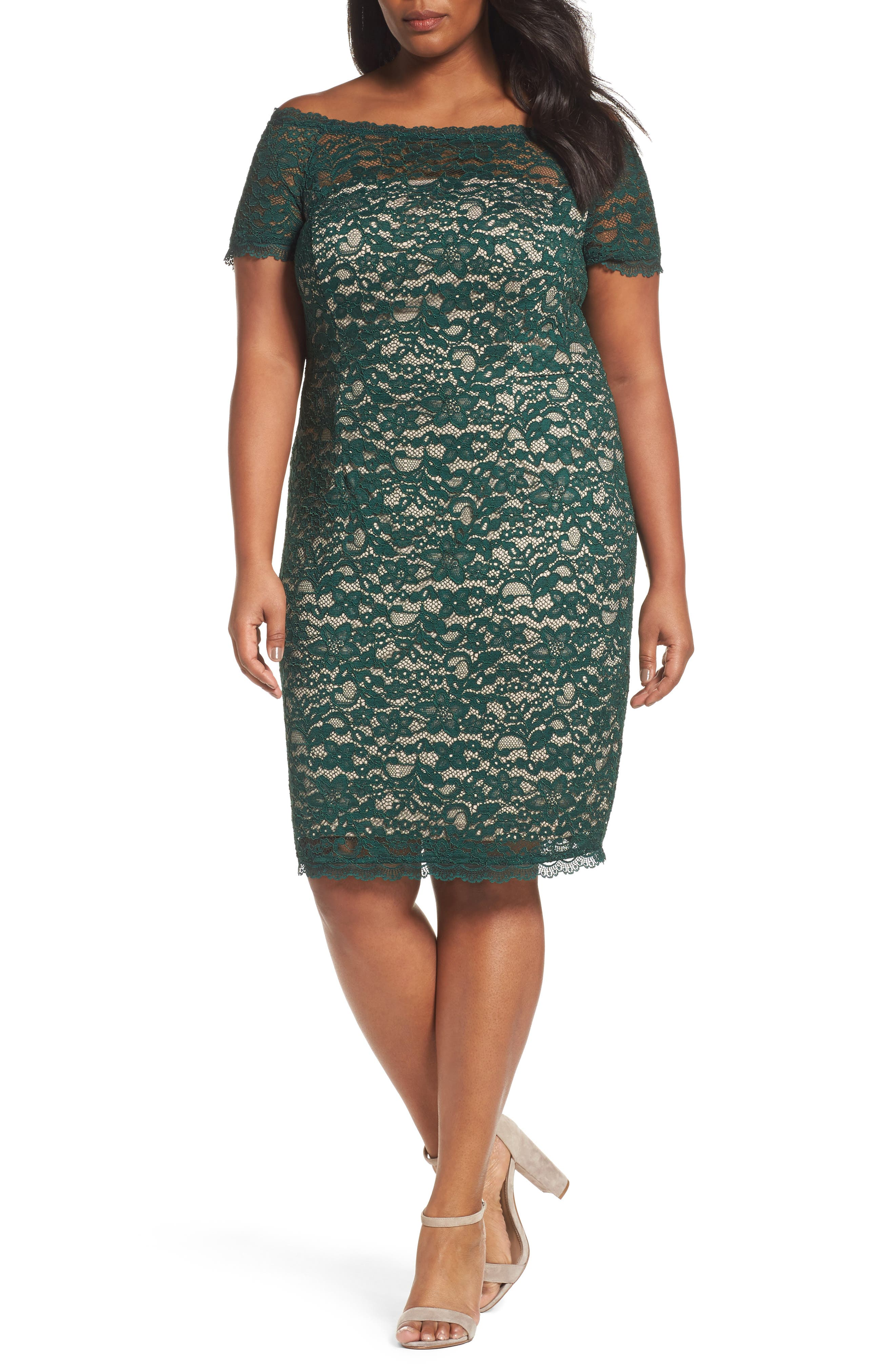 Alternate Image 1 Selected - Adrianna Papell Off the Shoulder Lace Sheath Dress (Plus Size)