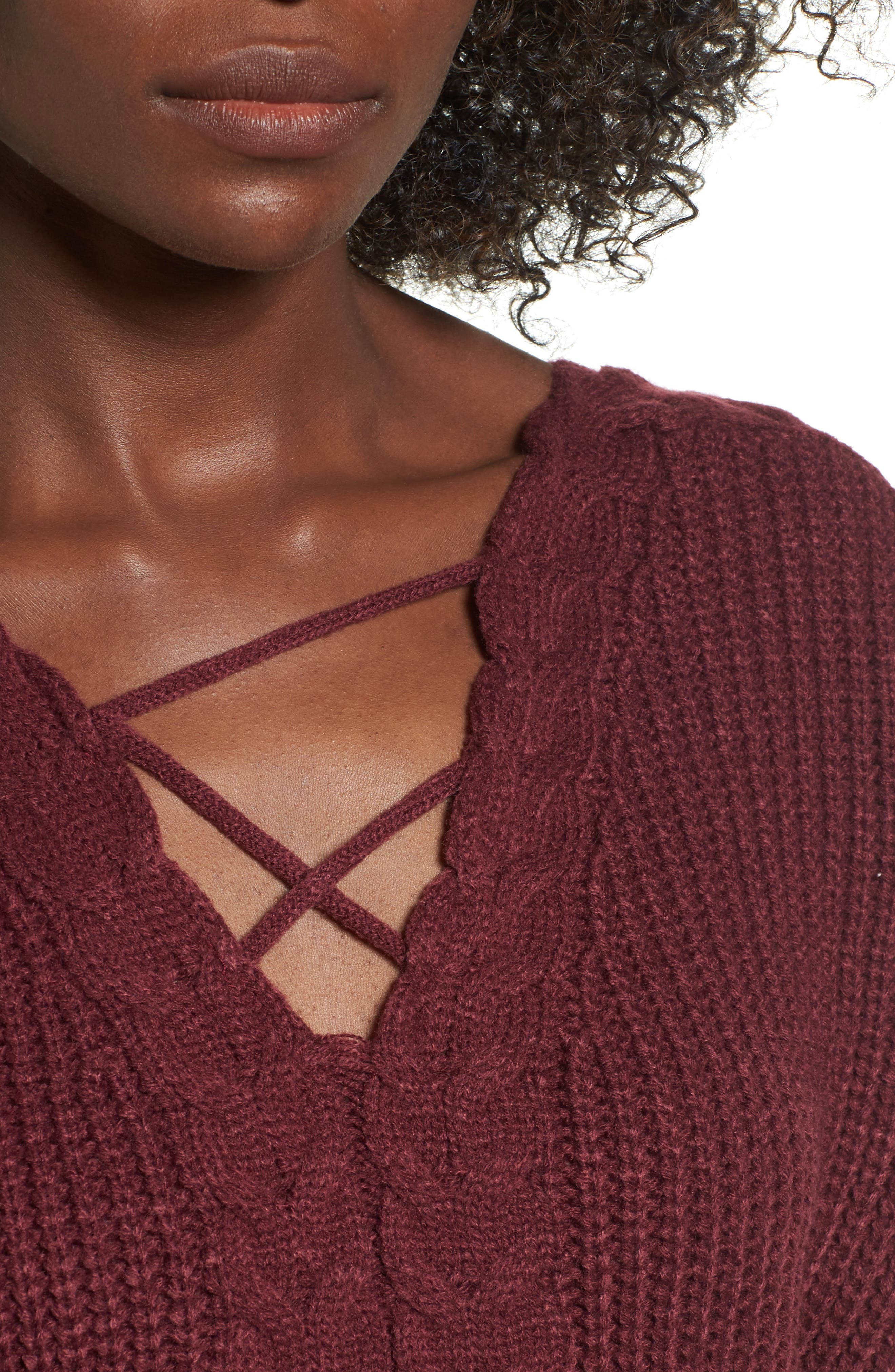 Cross Front Braided Sweater,                             Alternate thumbnail 4, color,                             Zinfandel