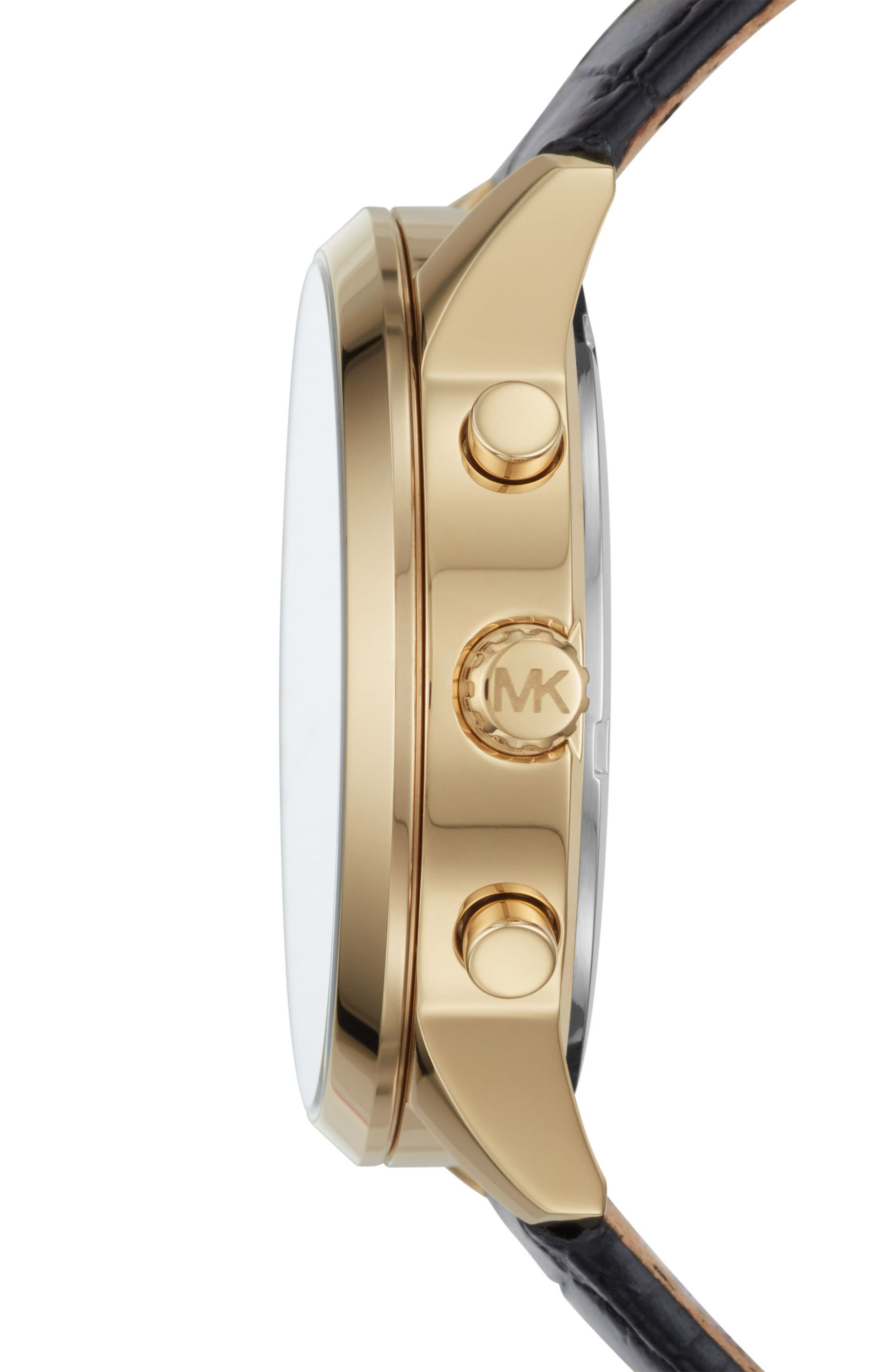 Alternate Image 2  - Michael Kors Slater Chronograph Leather Strap Watch, 40mm