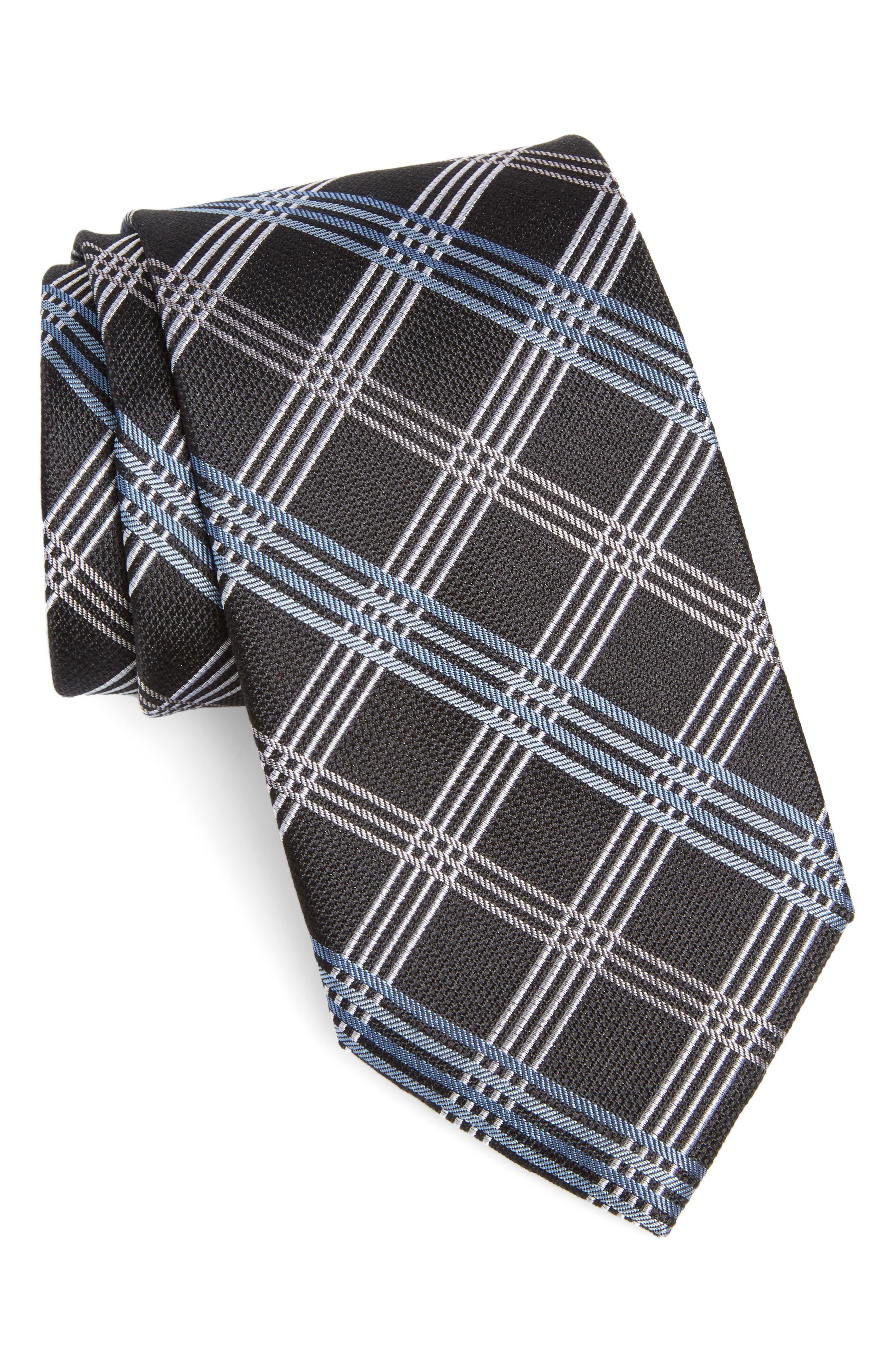 Plaid Silk Tie,                             Main thumbnail 1, color,                             Black