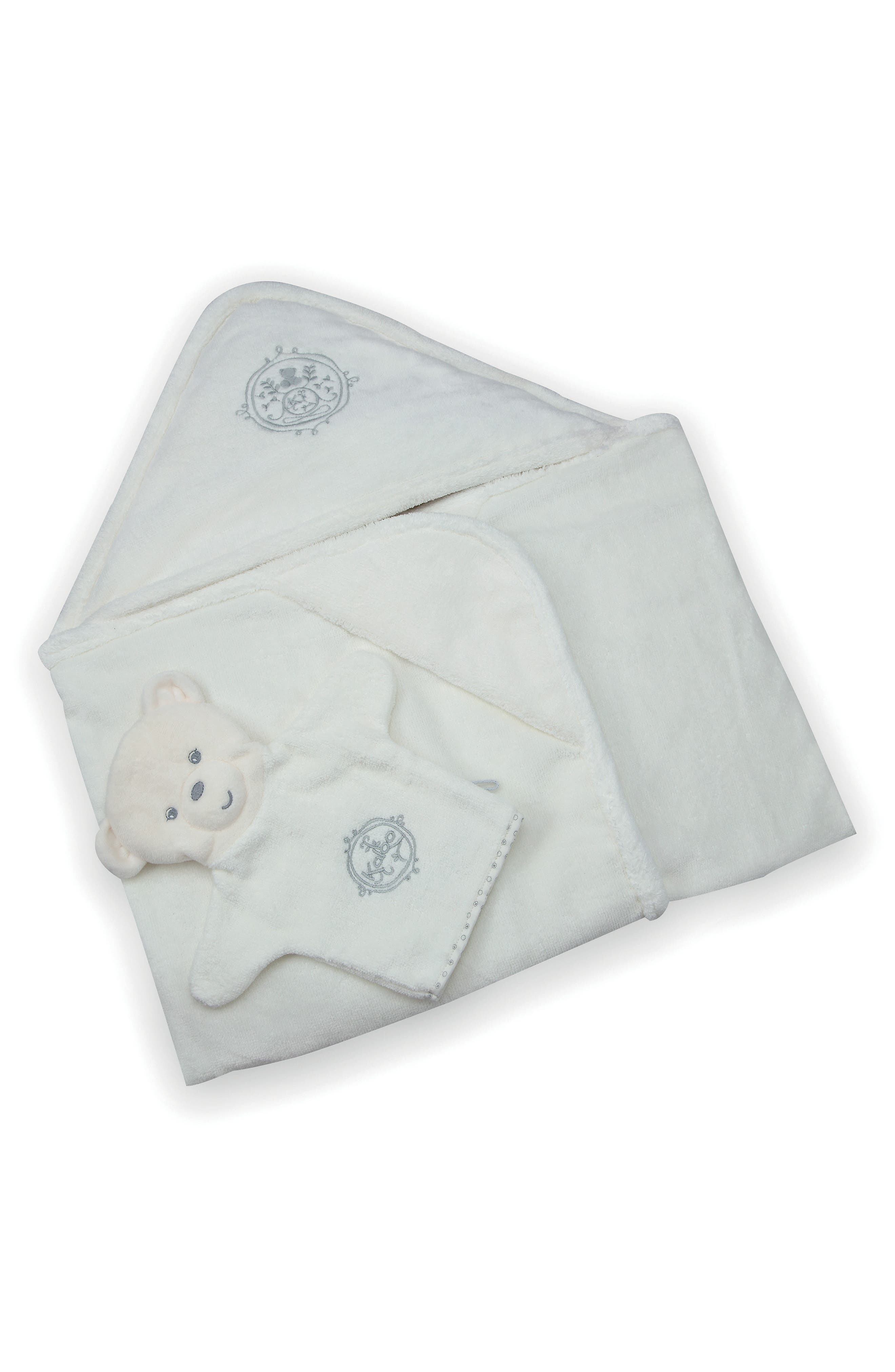 Bath Towel & Bear Puppet Wash Mitt,                             Main thumbnail 1, color,                             Blue