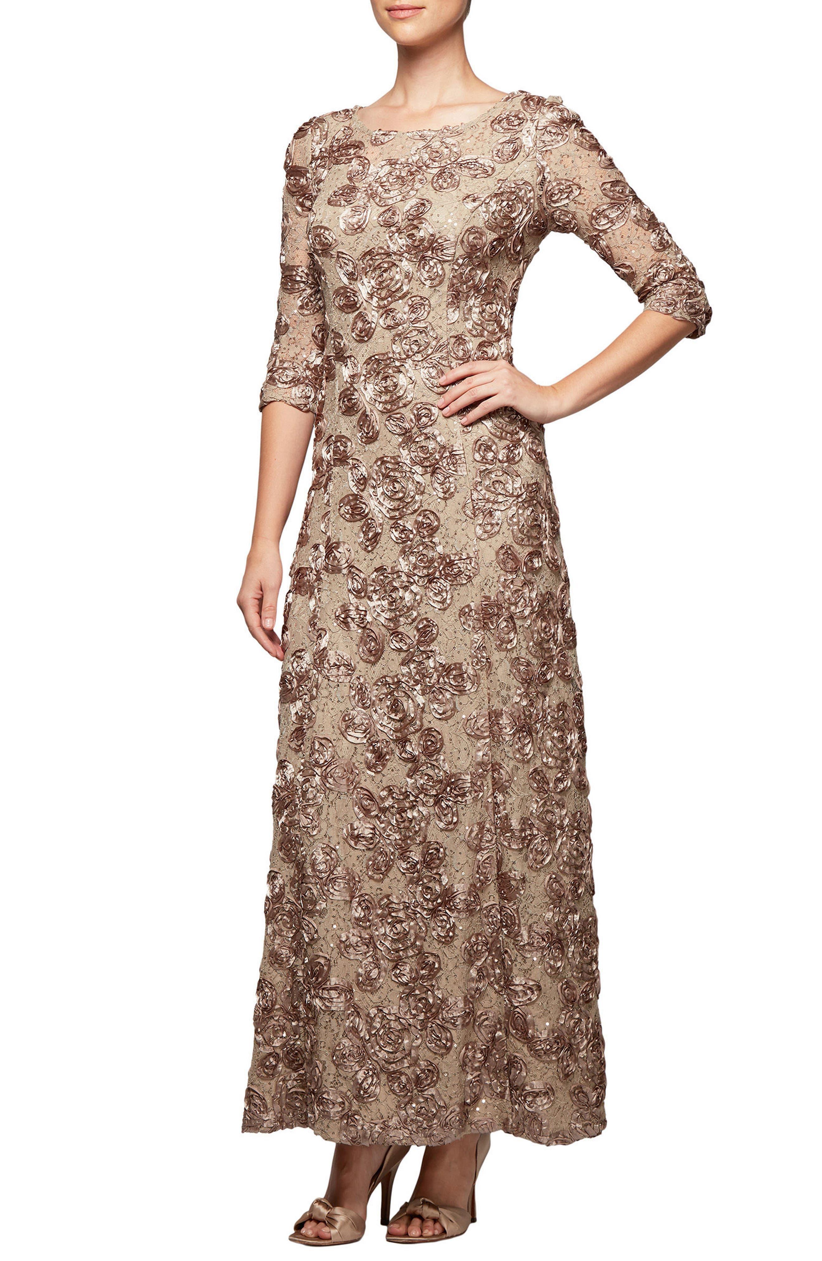 Main Image - Alex Evenings Rosette Detail A-Line Gown
