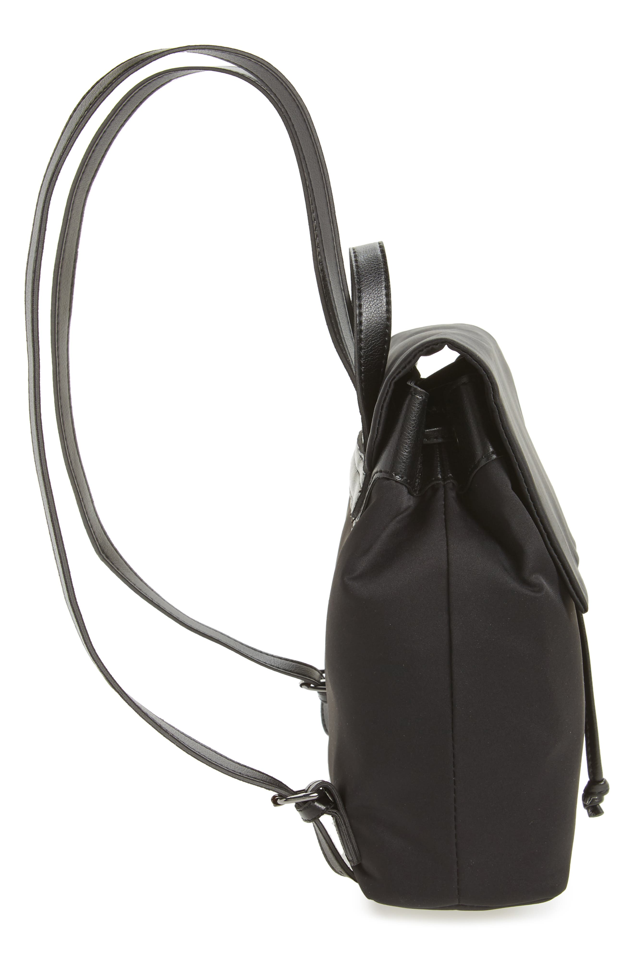 Satin & Faux Leather Backpack,                             Alternate thumbnail 4, color,                             Black