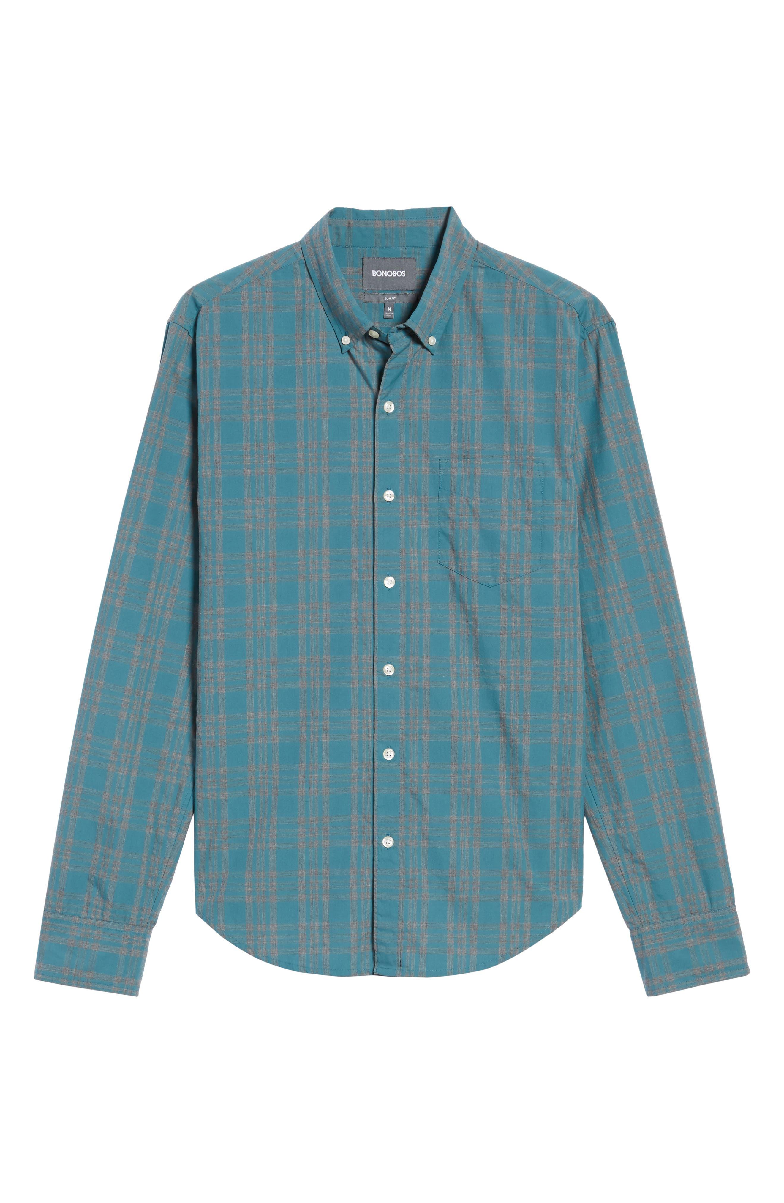 Slim Fit Check Sport Shirt,                             Alternate thumbnail 6, color,                             Ace Green Check