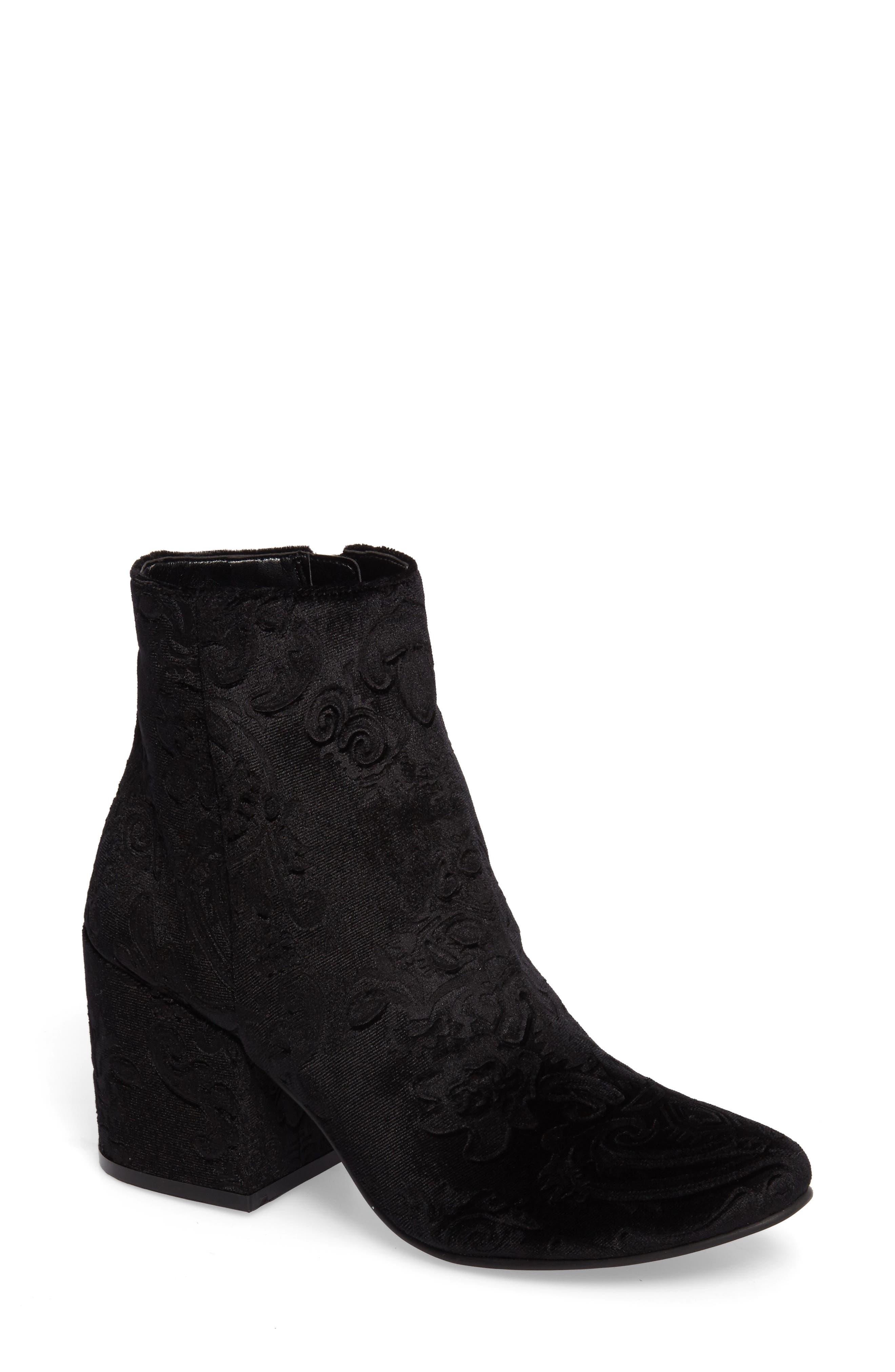 Marian Block Heel Bootie,                         Main,                         color, Black Embossed Velvet
