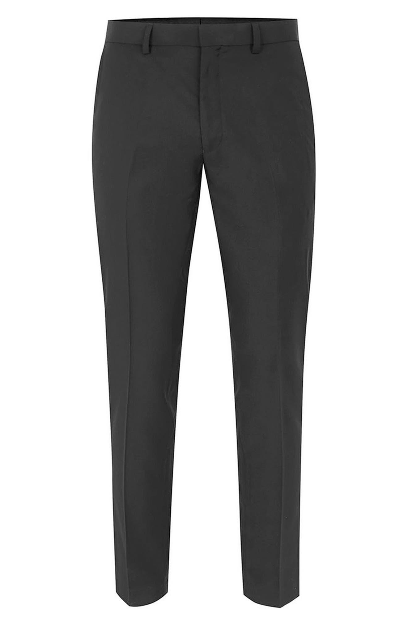 Black Skinny Fit Trousers,                             Alternate thumbnail 4, color,                             Black