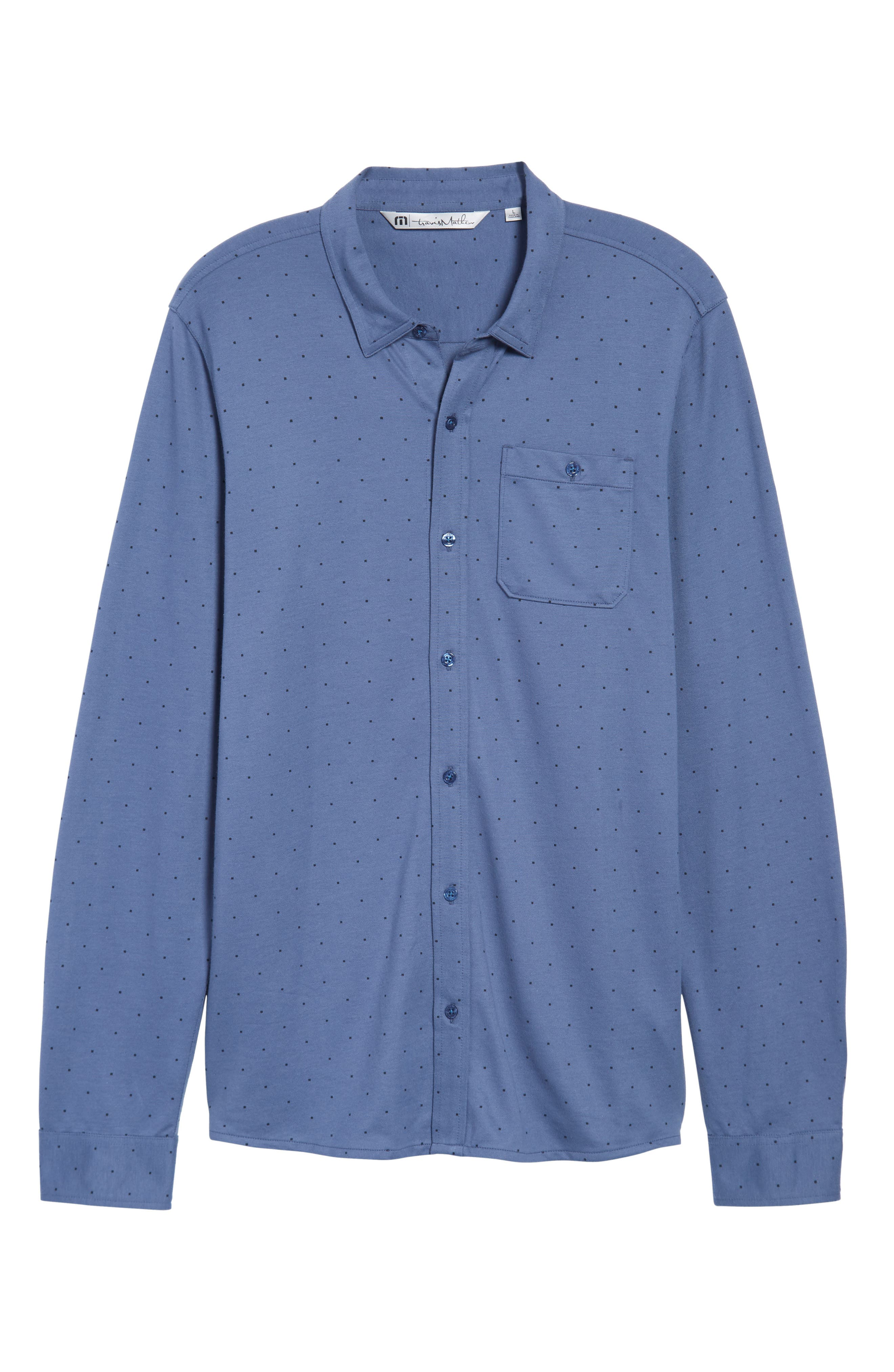 Randy Square Dot Sport Shirt,                             Alternate thumbnail 6, color,                             Vintage Indigo