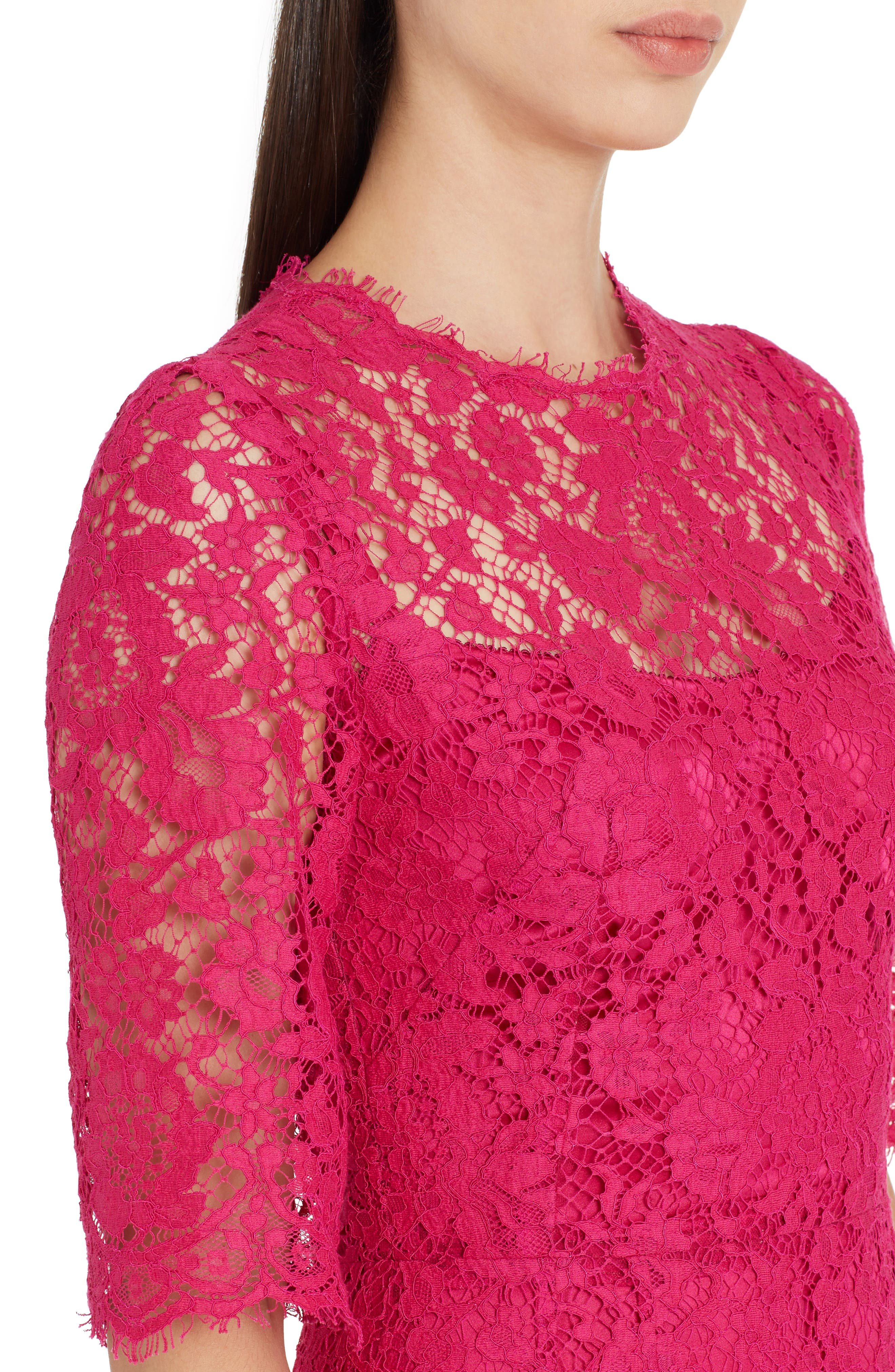 Lace A-Line Dress,                             Alternate thumbnail 4, color,                             Bright Pink